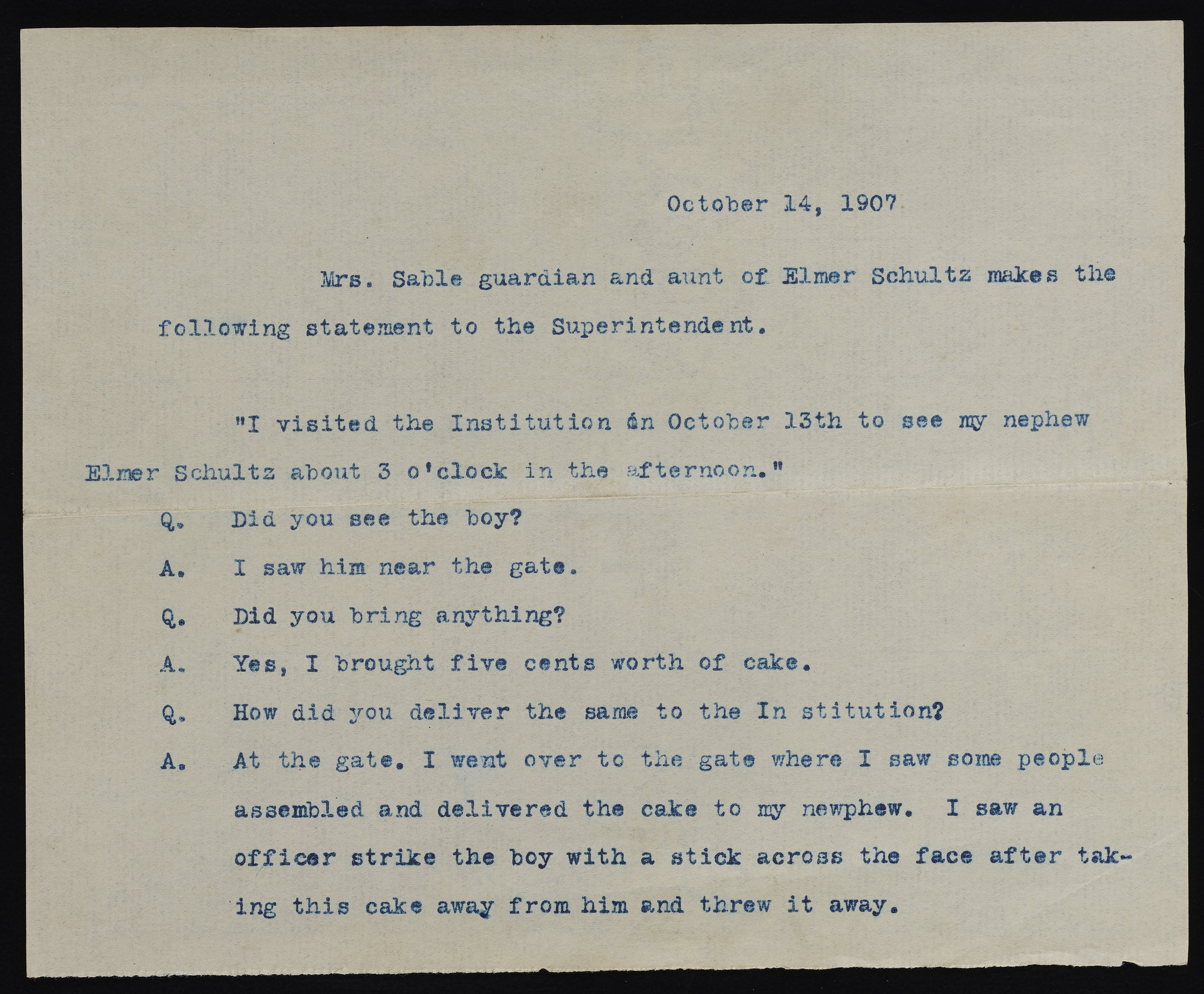 Transcript of an interview reporting corporal punishment at the school, 1907. Records of the Brooklyn Disciplinary Training School for Boys, NYC Municipal Archives.