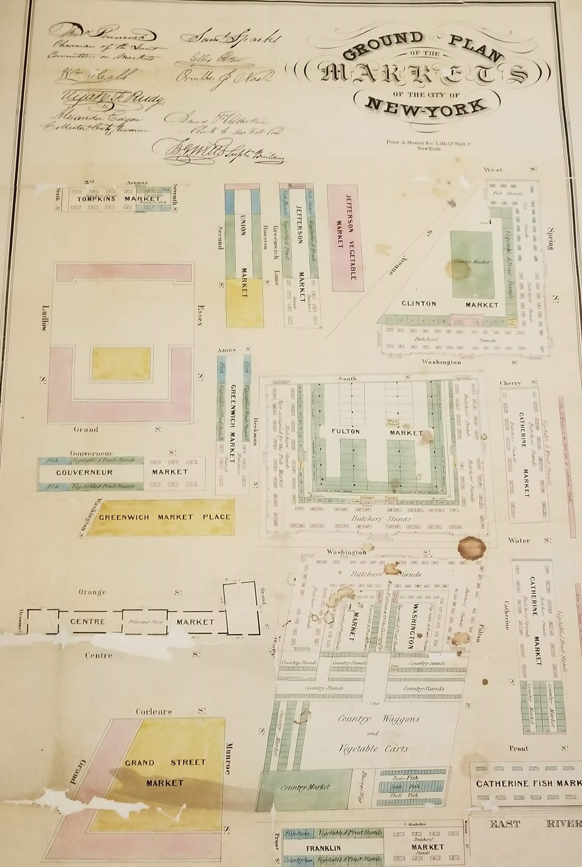 Ground Plan of the Markets of the City of New York, undated. Common Council, NYC Municipal Archives.