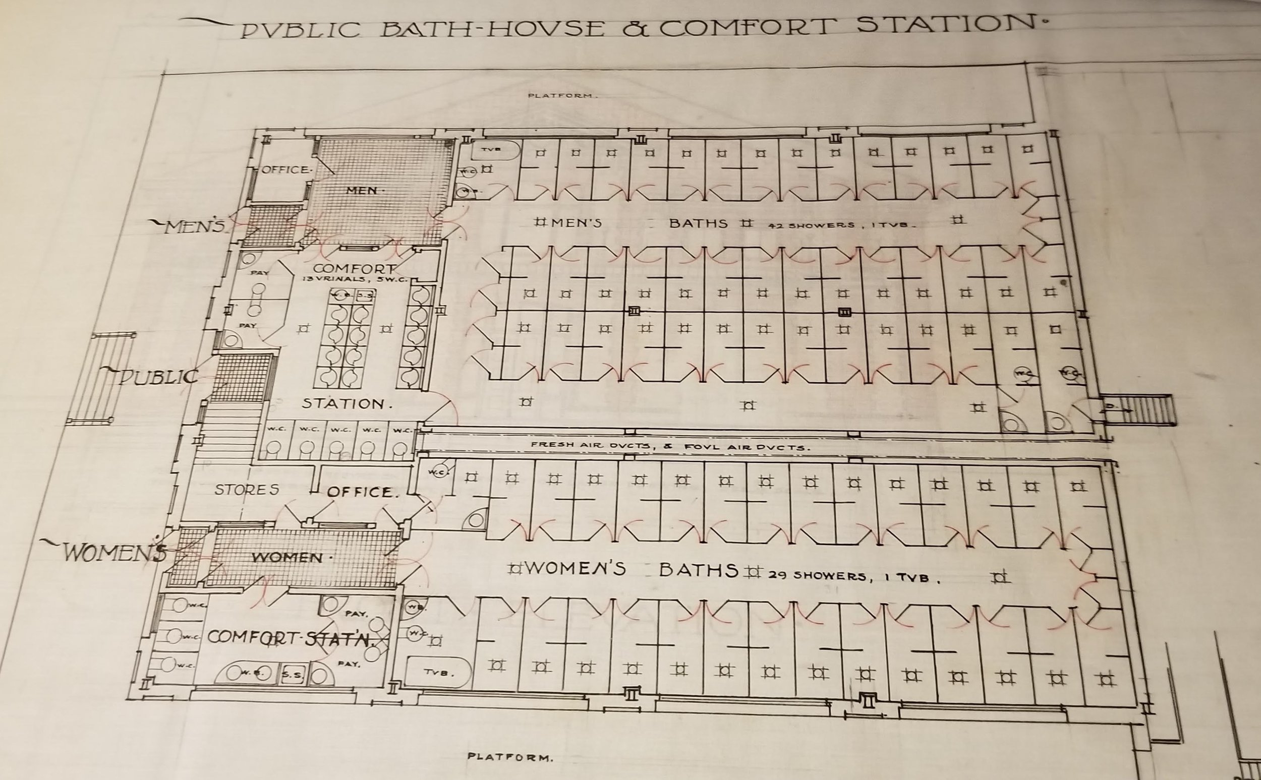Blueprint of Eighth Ward Public Market, Public Bath House & Comfort Station, undated. Department of Public Works, NYC Municipal Archives.