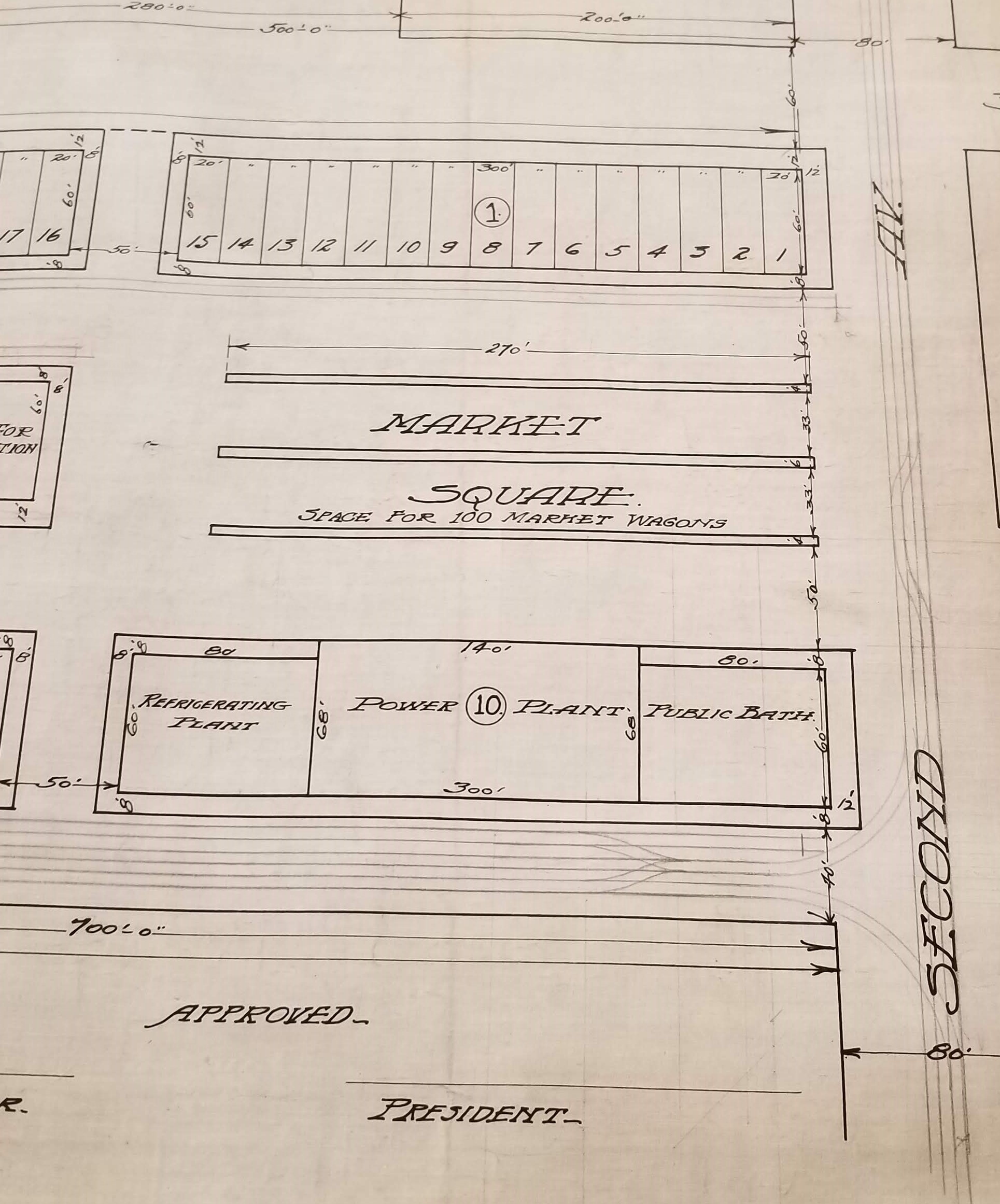Blueprint of Eighth Ward Public Market, Outline of Market Square, Refrigerating and Power Plant, and Public Bath, undated. Department of Public Works, NYC Municipal Archives.