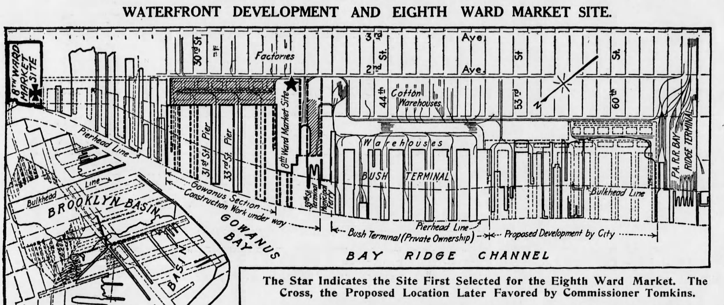 Map of Waterfront Development and Eighth Ward Market Site, both locations noted.  Brooklyn Daily Eagle , February 19, 1912.