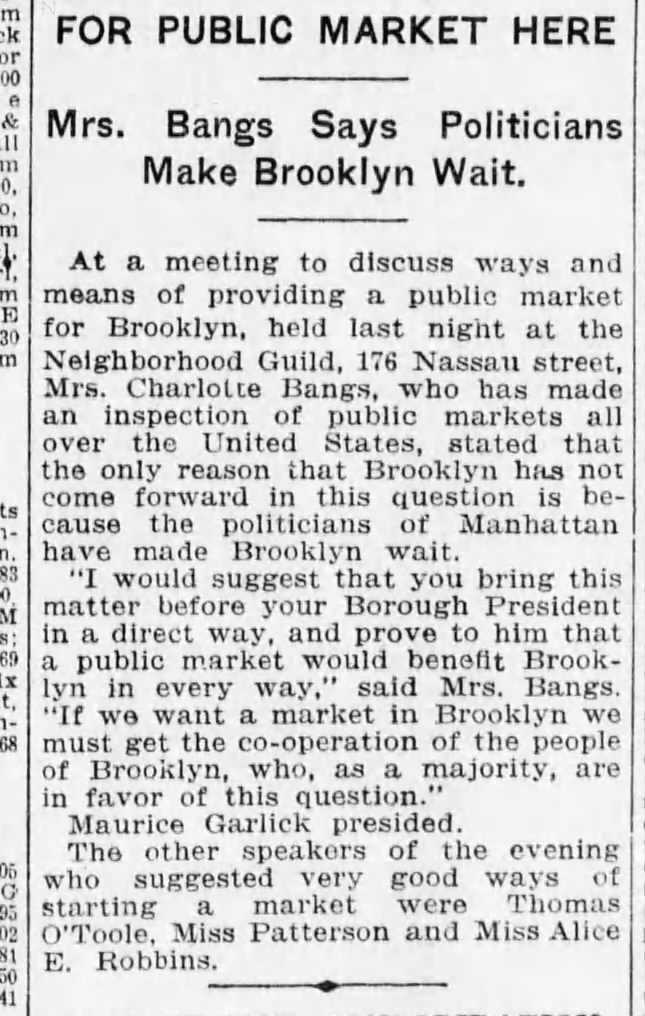 """Mrs. Bangs Says Politicians Make Brooklyn Wait.""  Brooklyn Daily Eagle , February 26, 1915."