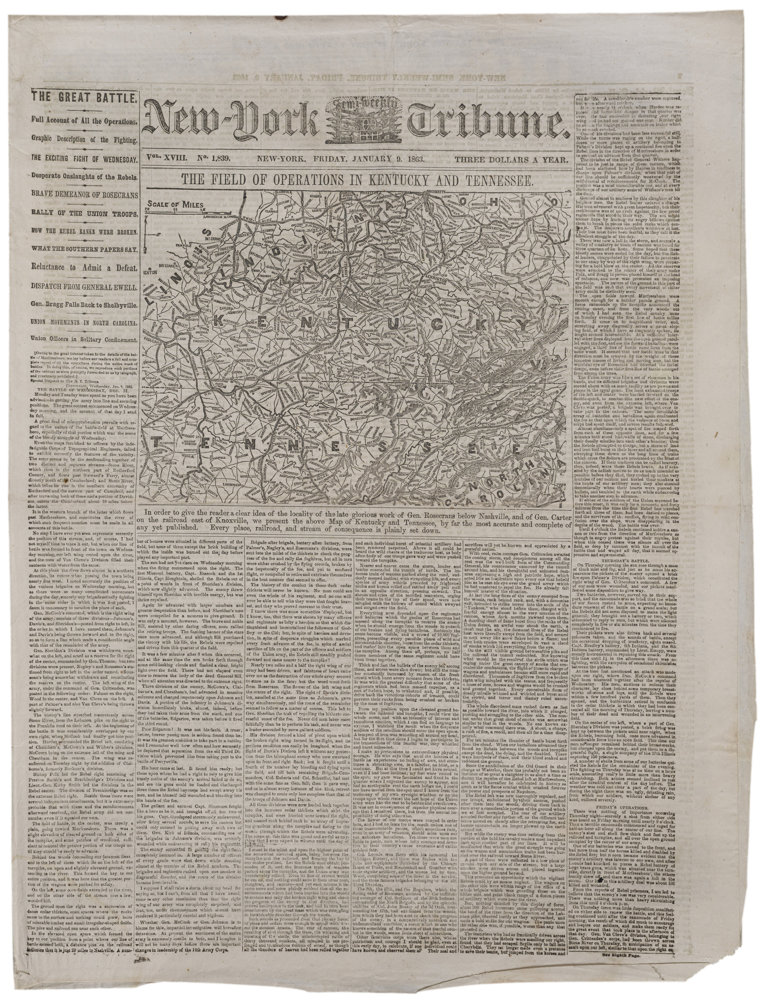 The January 9, 1863 edition of the  New-York Semi-Weekly Tribune .