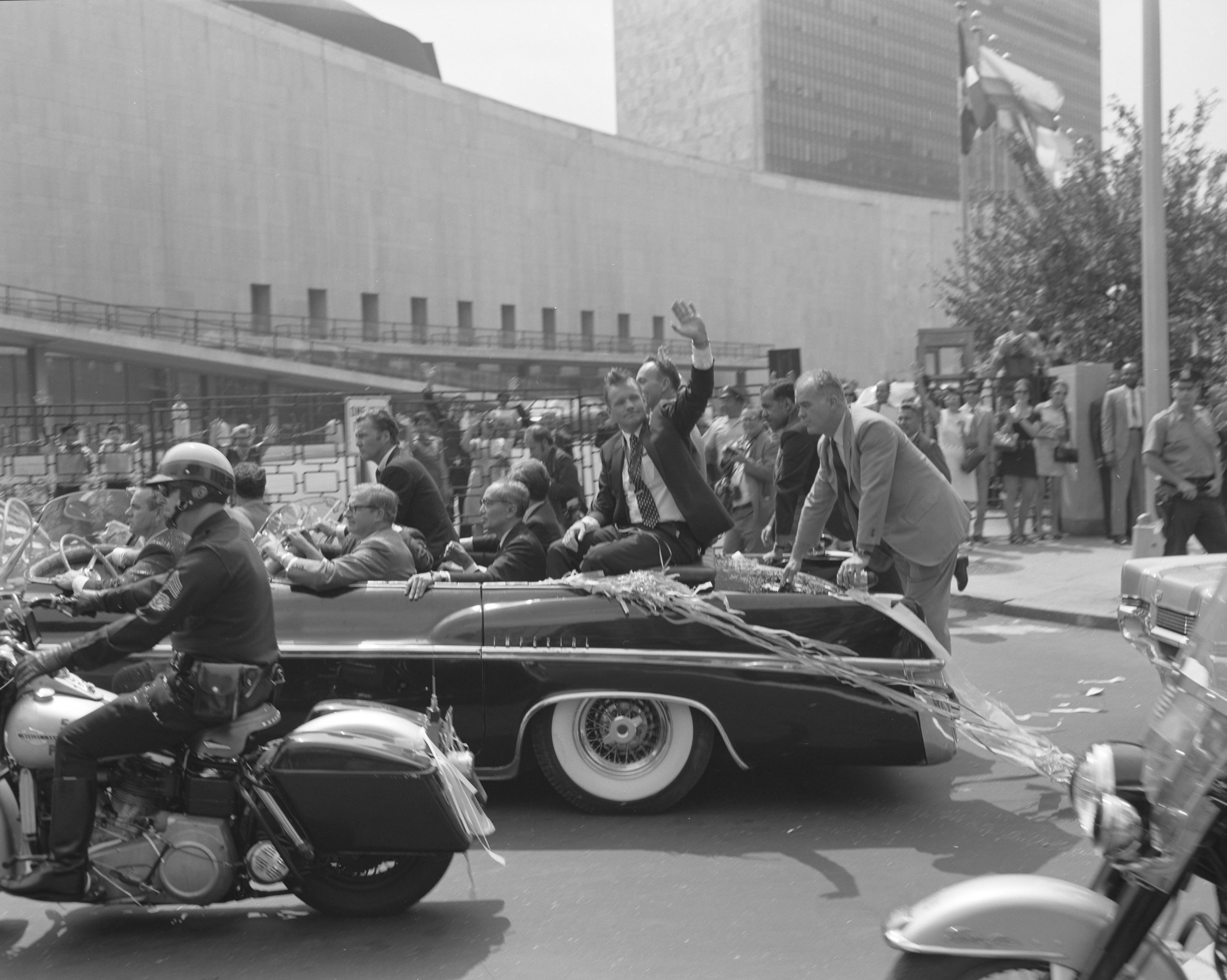 The Apollo 11 motorcade arrives at the United Nations for a brief ceremony, August 13, 1969. NYPD Collection, NYC Municipal Archives.