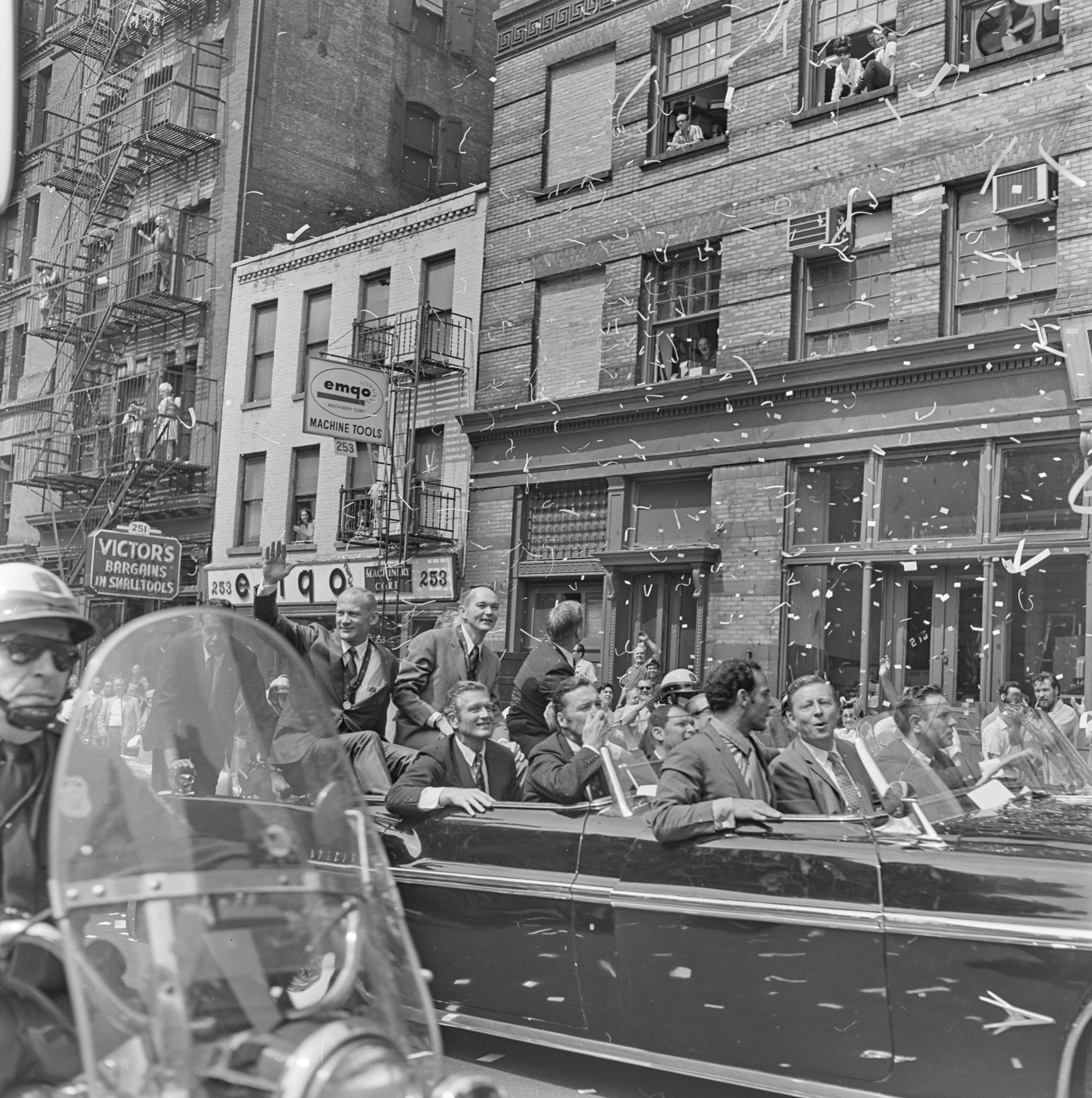 Following the City Hall reception, the Apollo 11 Astronaut motorcade continued uptown along Centre Street on their way to the United Nations, August 13, 1969. NYPD Collection, NYC Municipal Archives.