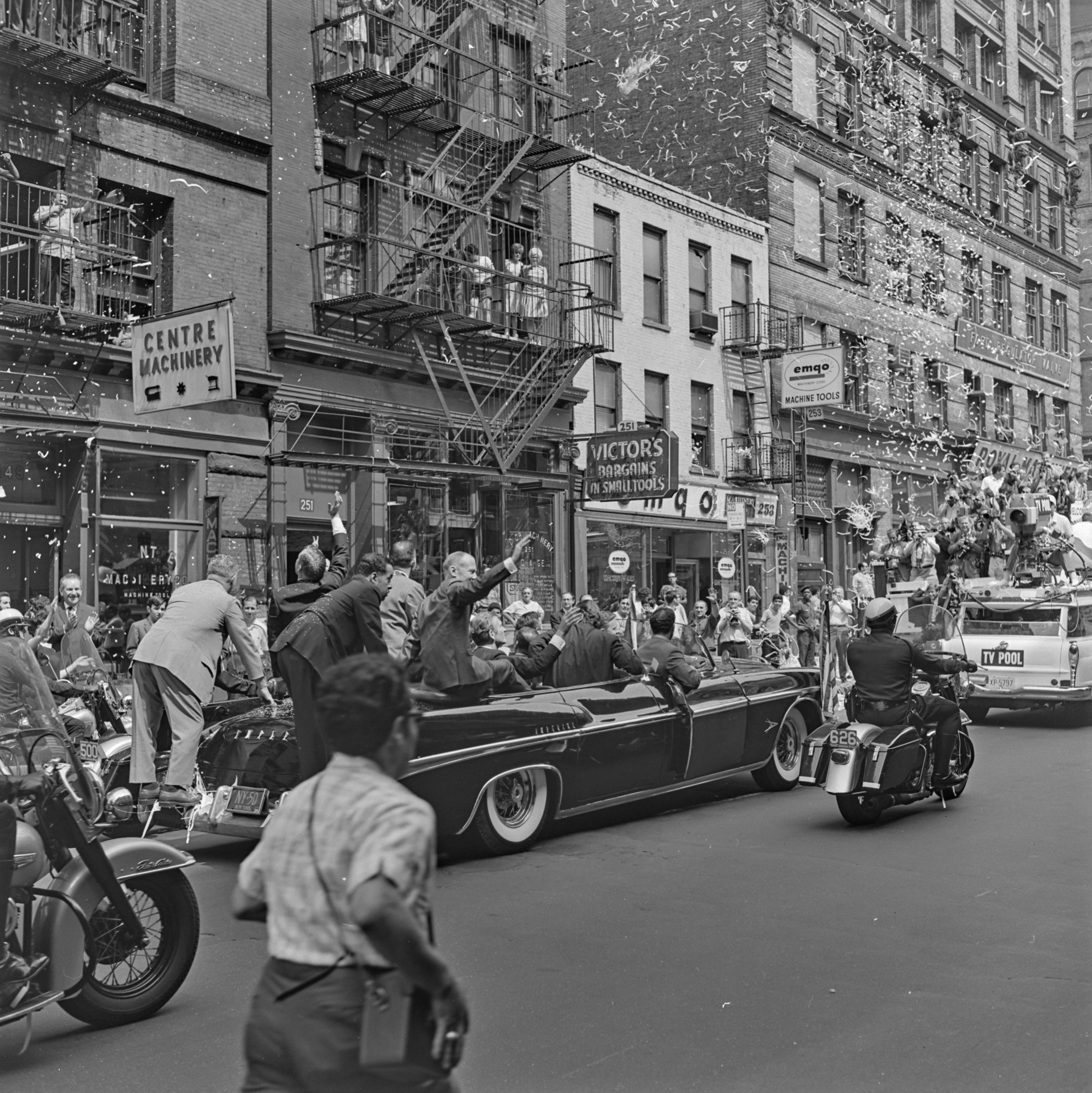 Spectators and more confetti greet the Apollo 11 Astronaut motorcade on Centre Street, August 13, 1969. NYPD Collection, NYC Municipal Archives.