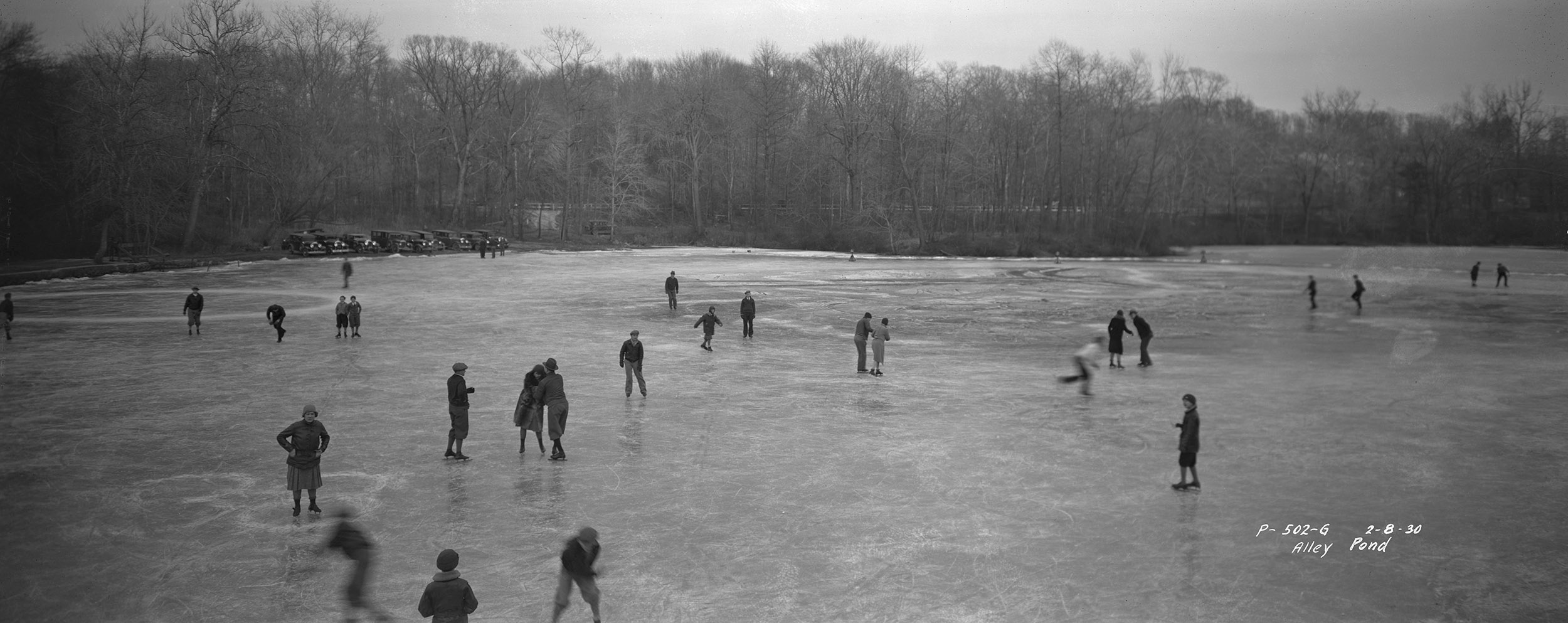 Skaters on Alley Pond, Queens, February 8, 1930. Borough President Queens Collection, NYC Municipal Archives.