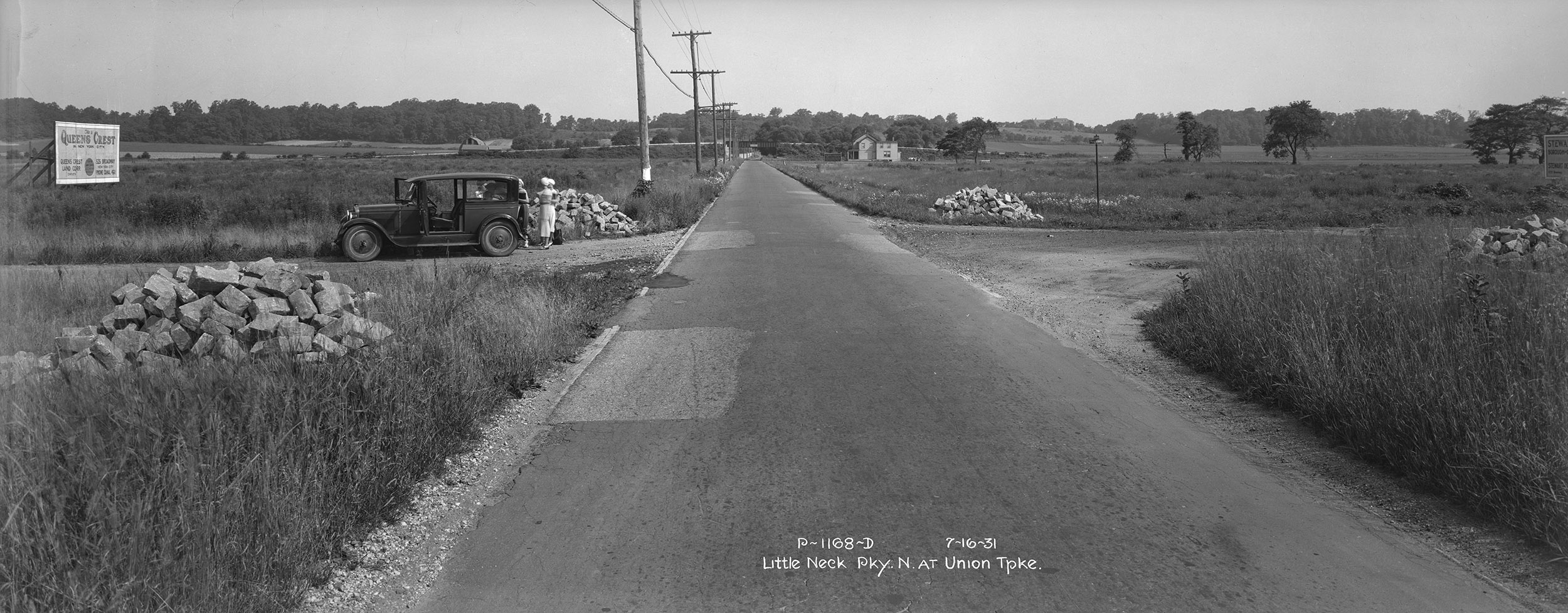 Little Neck Parkway, looking north at Union Turnpike, Queens, July 16, 1931. Borough President Queens Collection, NYC Municipal Archives.
