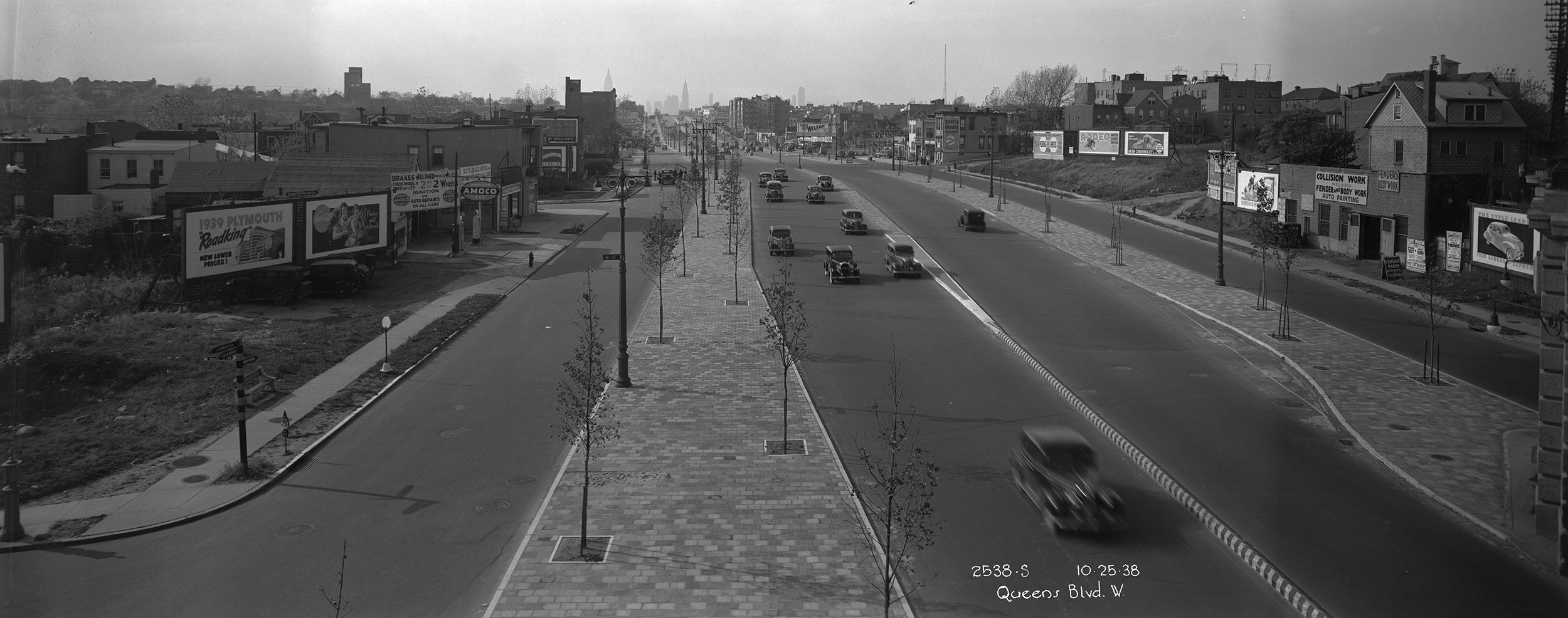 Queens Boulevard, looking west, October 25, 1938. Borough President Queens Collection, NYC Municipal Archives.