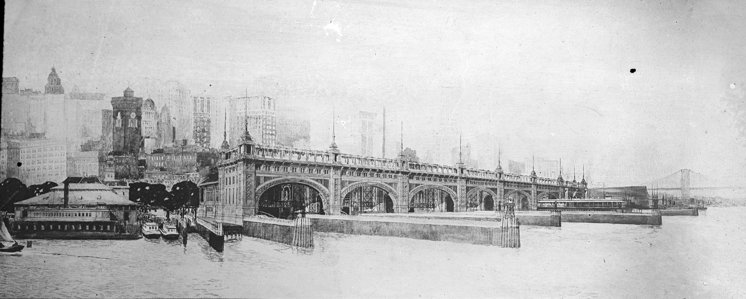 Perspective drawing of the Municipal Ferry Terminal, undated. In the original design, the terminal had two buildings, one with two slips going between Whitehall-Saint George (opened in 1906), and the other for the 39th Street Ferry that went to South Brooklyn (opened in 1909). It is now called the Battery Maritime Building and was listed on National Register of Historic Places in 1976.