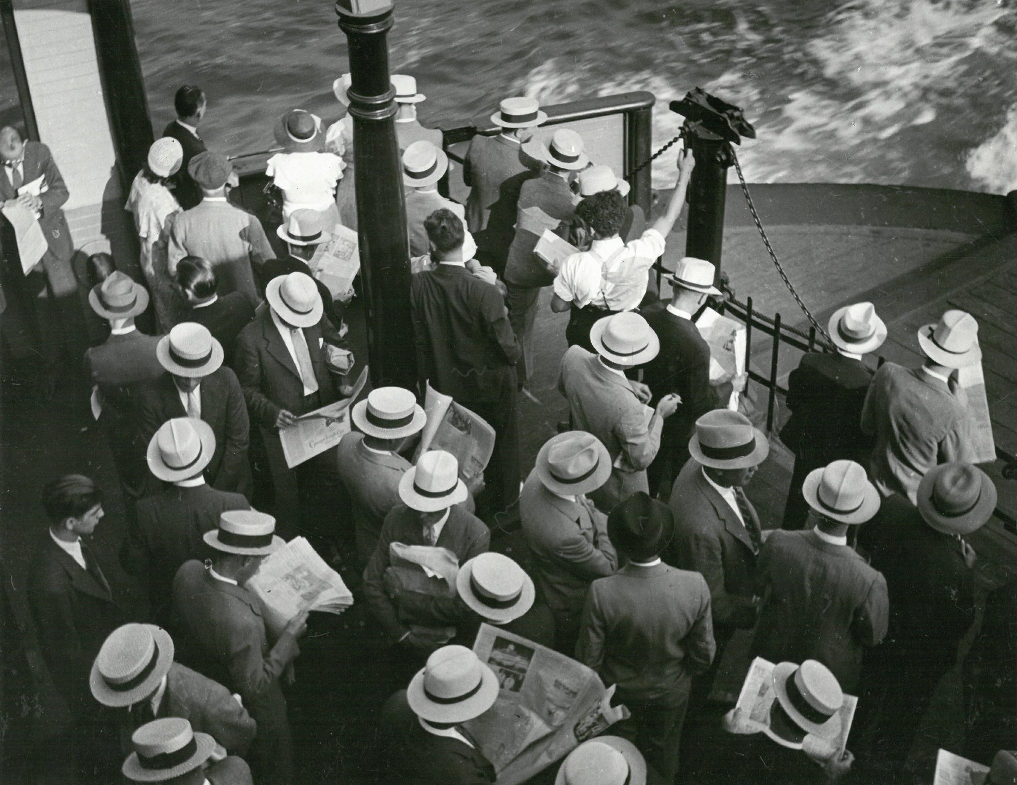 Commuters on the ferry from Hoboken, N.J., to Barclay Street, circa. 1937. WPA Federal Writers' Project photograph, NYC Municipal Archives.