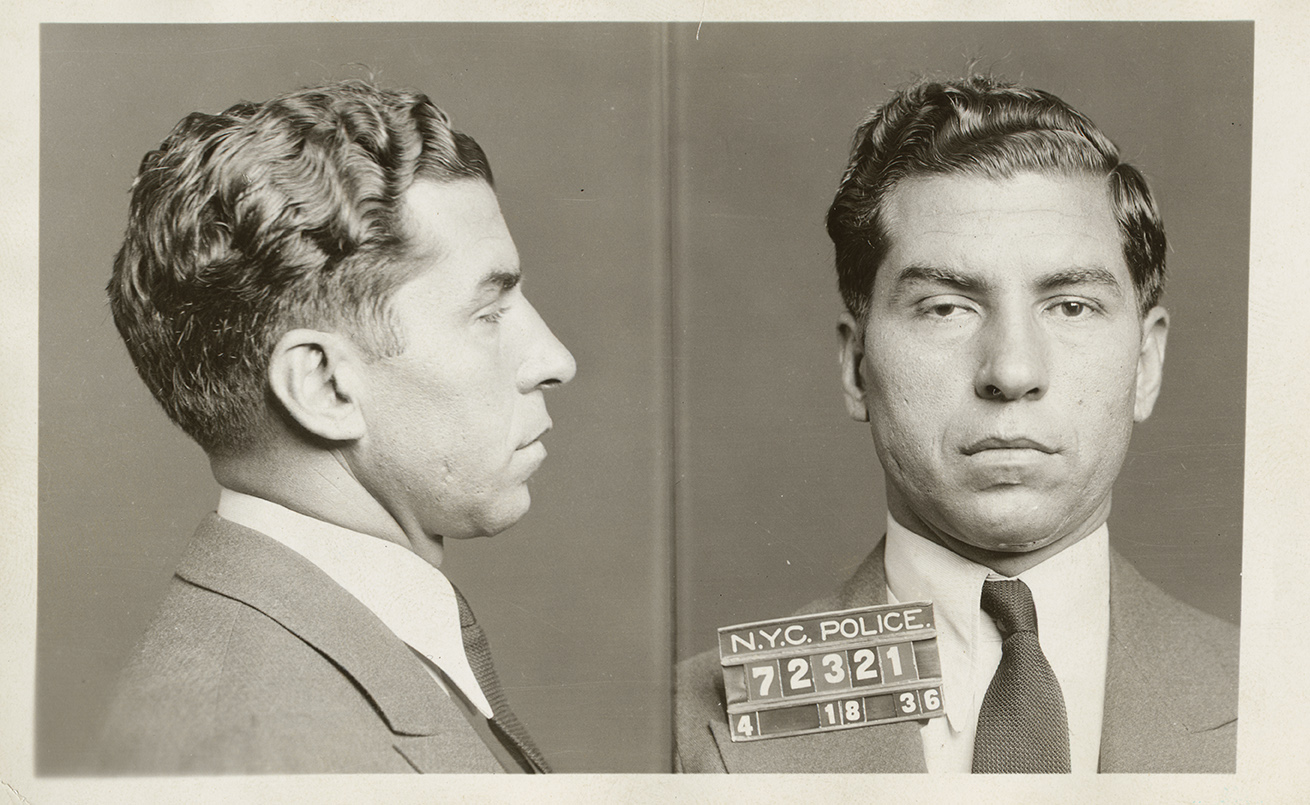 Mugshot of Charles Luciano, alias Lucky, April 18, 1936. New York County District Attorney, Case File 211537, NYC Municipal Archives.