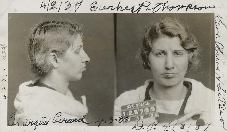 "Mugshot of Florence Newman, alias ""Cokey"" Flo Francis Martin, alias Flo Brown, alias Fay Marston, October 10, 1934. New York County District Attorney, Case File 211537, NYC Municipal Archives."