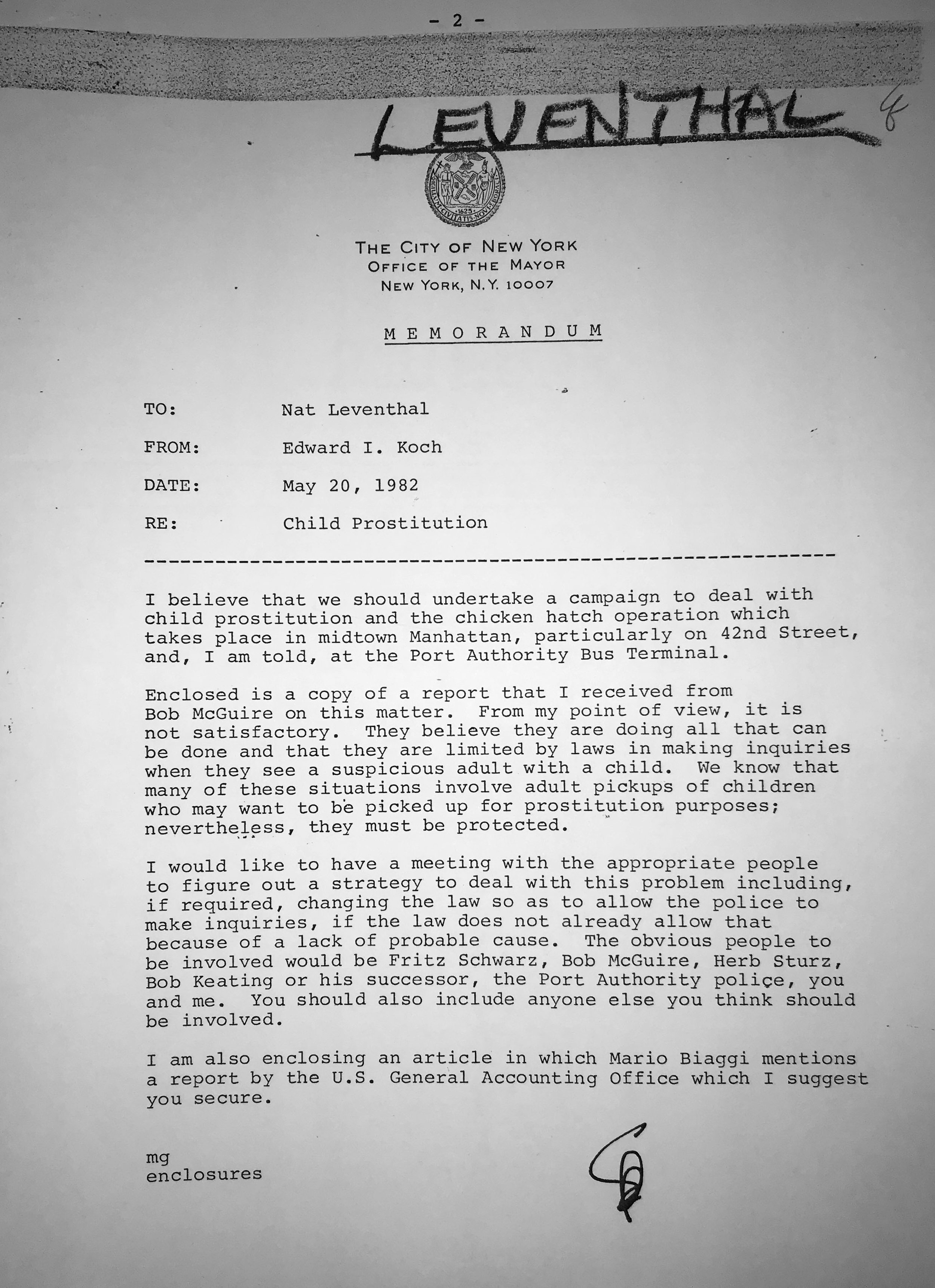 Letter from Mayor Koch to Deputy Mayor Nat Leventhal on child prostitution on 42nd Street, 1982. Mayor Koch Collection, Departmental Correspondence, NYC Municipal Archives.