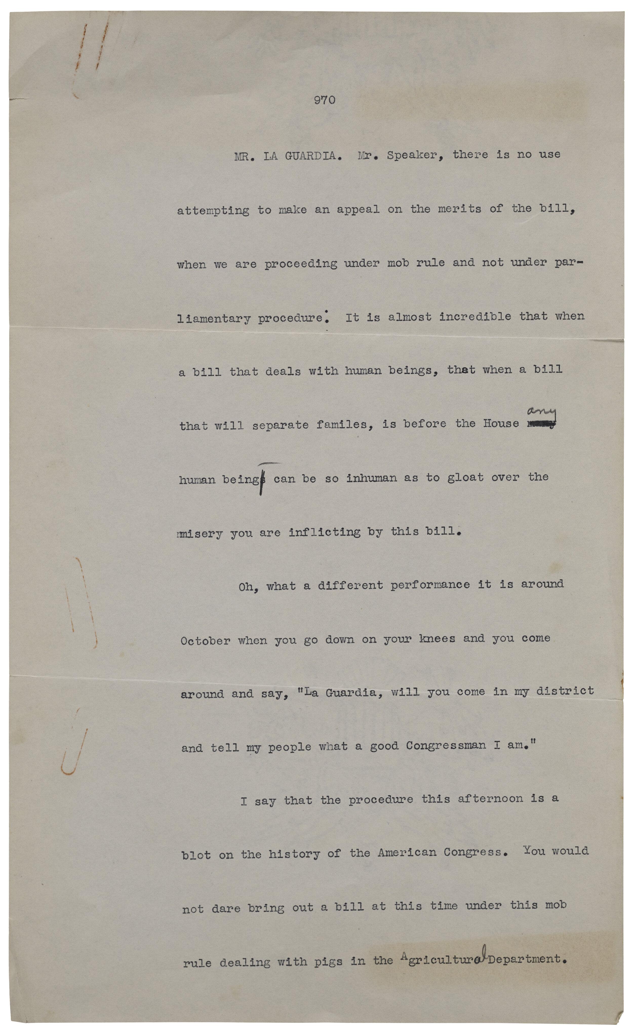 Fiorello LaGuardia Congressional testimony. Office of the Mayor, Mayor LaGuardia, Subject Files, NYC Municipal Archives.