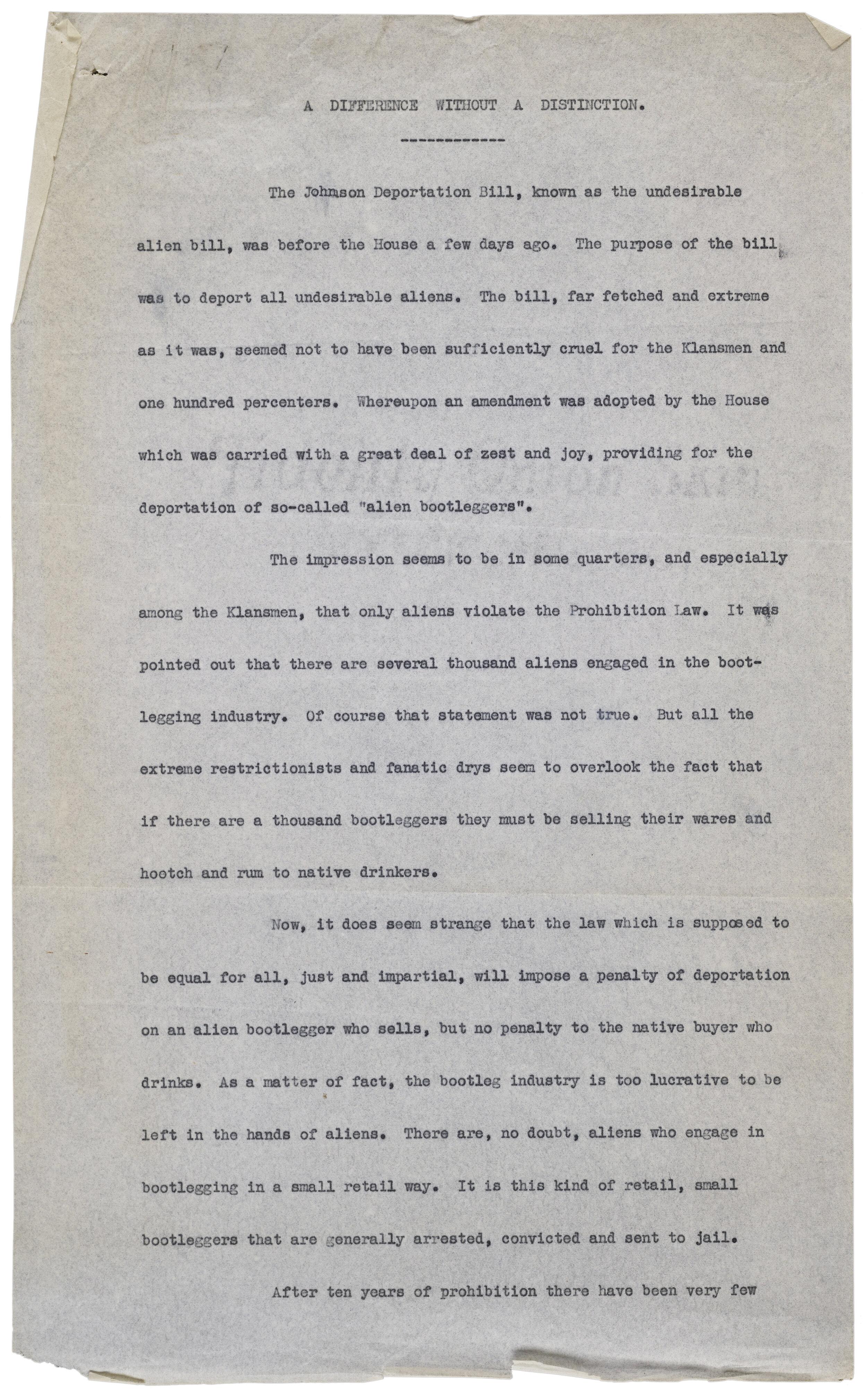 Fiorello LaGuardia Congressional speech. Office of the Mayor, Mayor LaGuardia, Subject Files, NYC Municipal Archives.