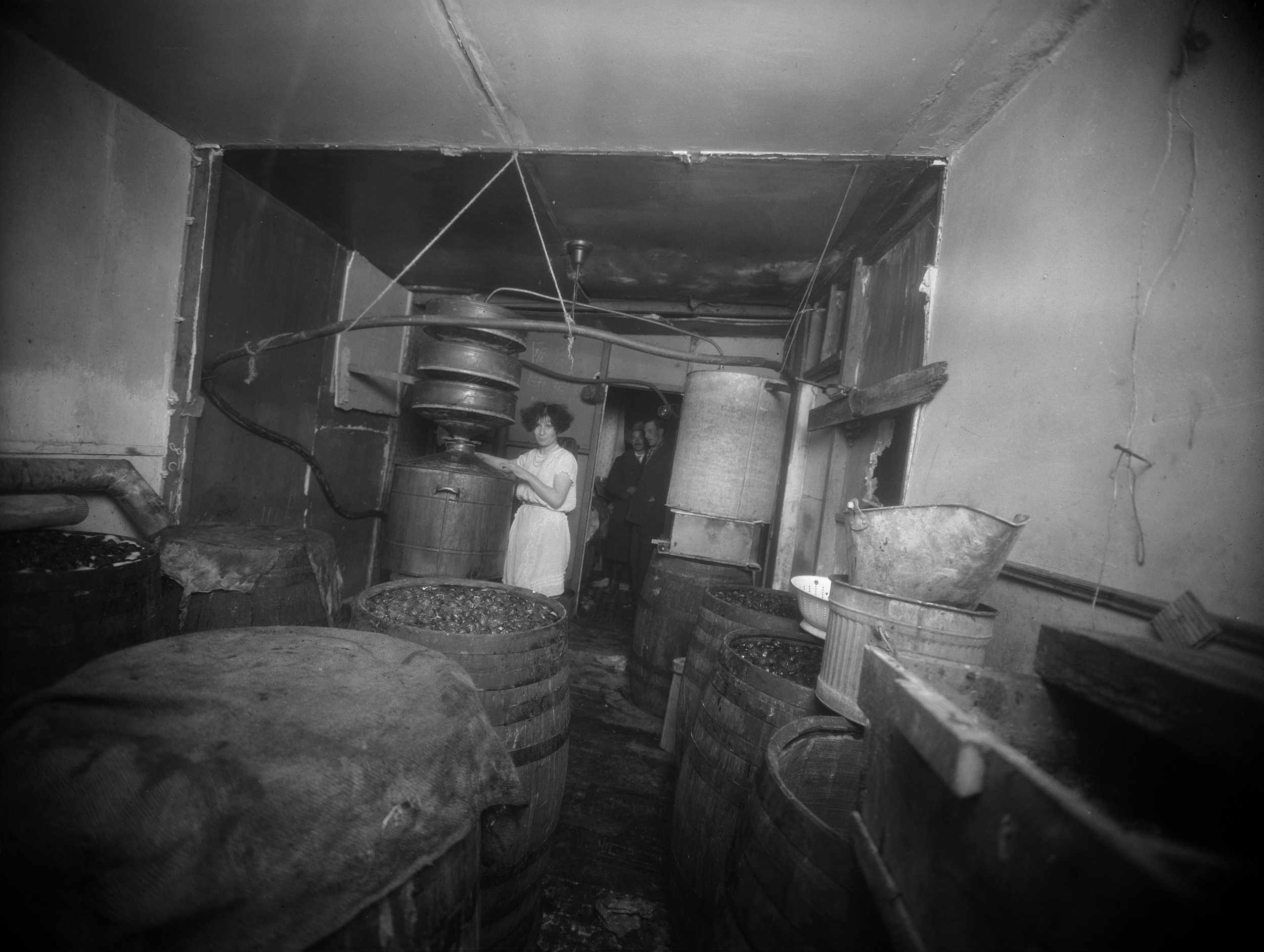 A still at 1366 East 58th St., Brooklyn, December 17, 1926. One of the many small bootlegging operations raided by the police in the late 1920s. NYPD Collection, NYC Municipal Archives.