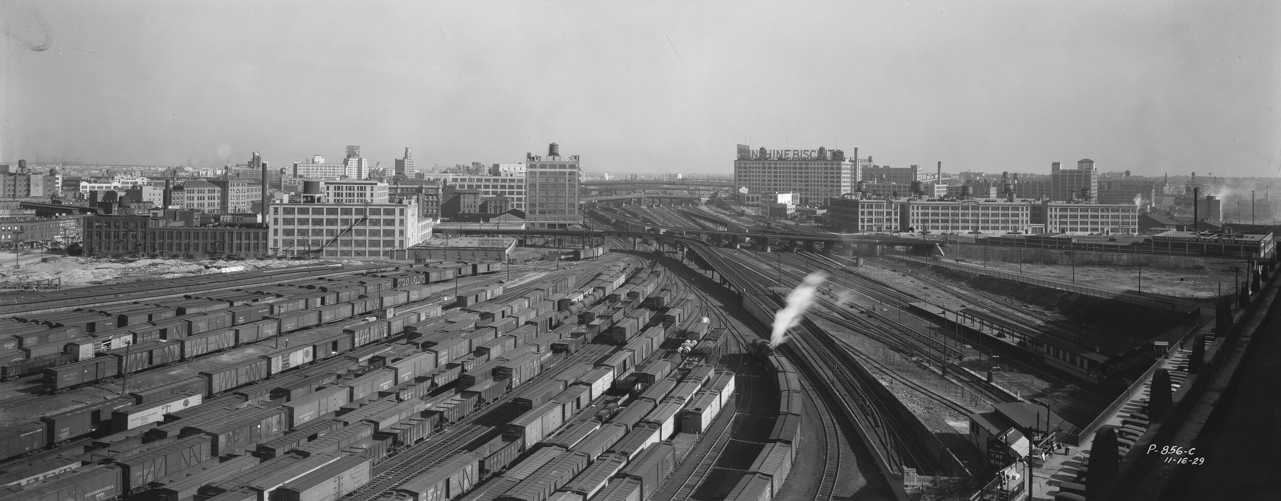 P-856-c:  Elevated view of the Sunnyside train yards, November 16, 1929. Borough President Queens Collection, NYC Municipal Archives.