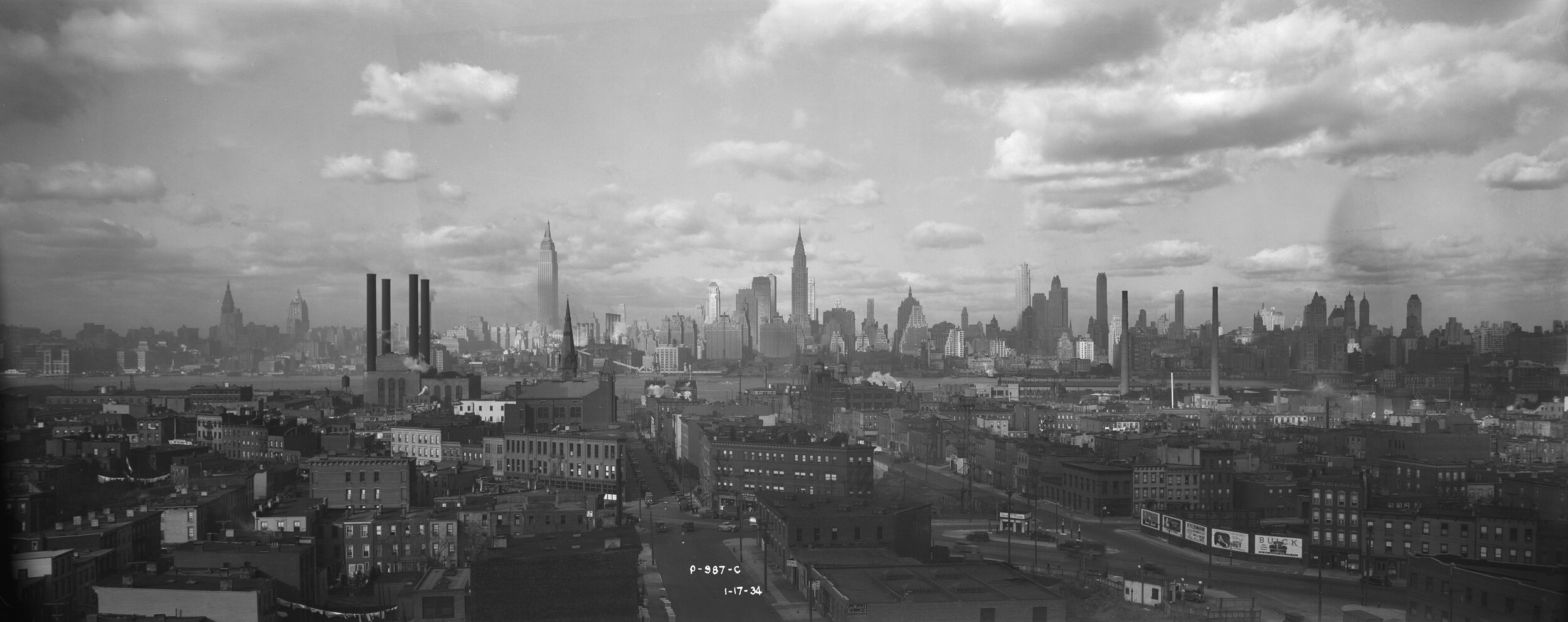P-987-c:  View of Manhattan skyline from Long Island City, January 1, 1934. Borough President Queens Collection, NYC Municipal Archives.  Visible buildings include the Vanderbilt Hotel, Empire State, 10 East 40th Street, Daily News, Chanin, Lincoln, Chrysler, 500 Fifth Avenue, New York Central, Grand Central Palace, RCA, Waldorf Astoria, General Electric, River House, Savoy Plaza, Ritz Towers, Sherry Netherlands.