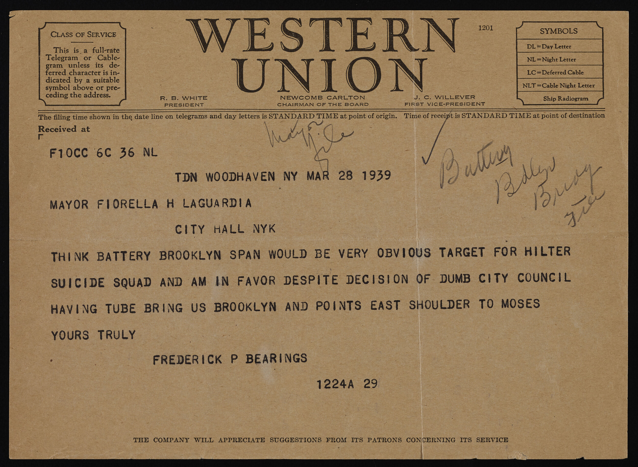 Telegram, March 28, 1939. Mayor LaGuardia papers, subject files, NYC Municipal Archives.