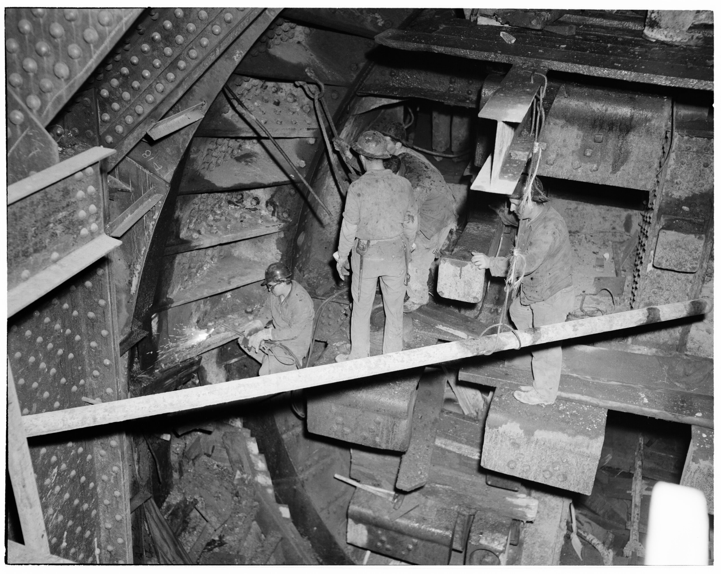 Construction of the Brooklyn Battery Tunnel; tunnel interior, October 14, 1948. Department of Parks and Recreation Collection, NYC Municipal Archives.