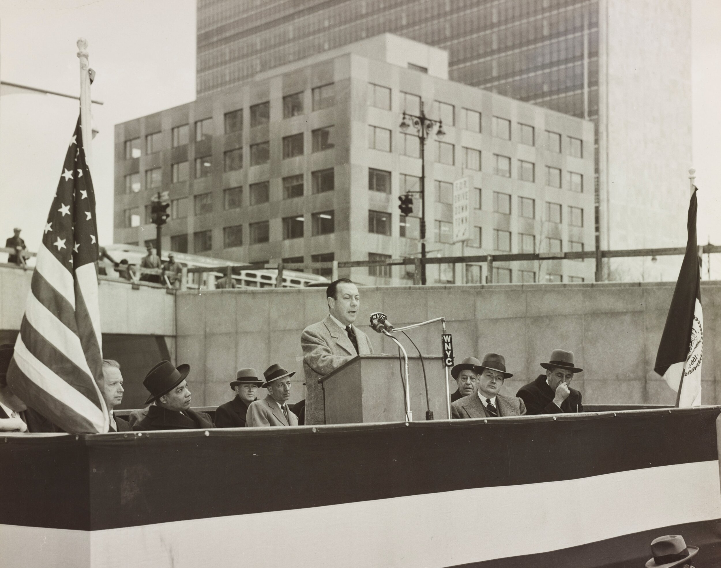 Mayor Robert F. Wagner speaks at the ceremony opening the Brooklyn Battery Tunnel, May 25, 1950. NYC Municipal Archives.
