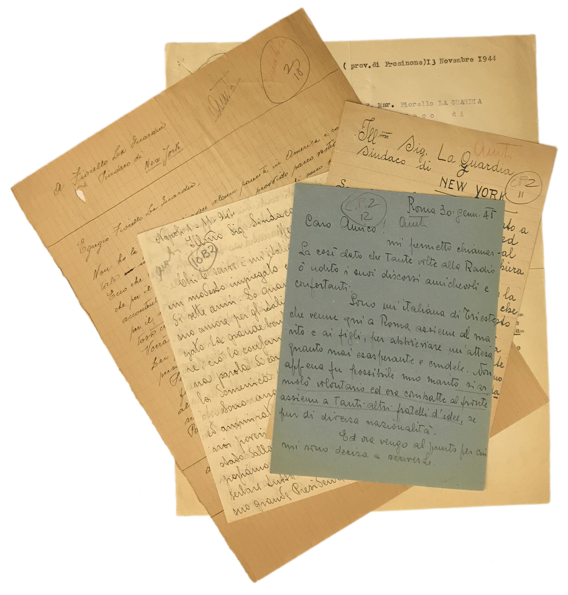 Some of the many letters Mayor LaGuardia received from Italy. Mayor LaGuardia Collection, NYC Municipal Archives.