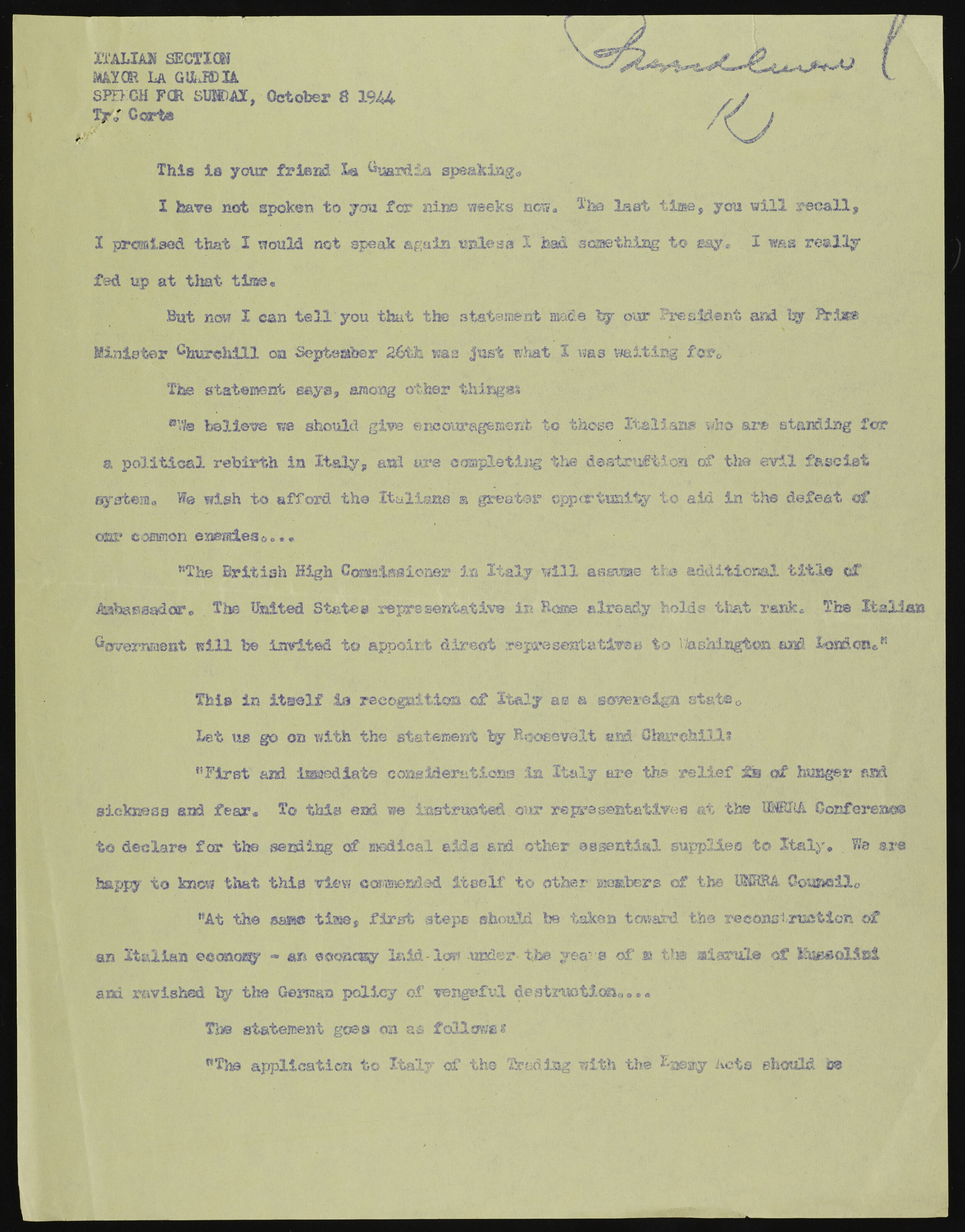 The English language draft of LaGuardia's October 8, 1944 speech. Mayor LaGuardia Collection, NYC Municipal Archives.