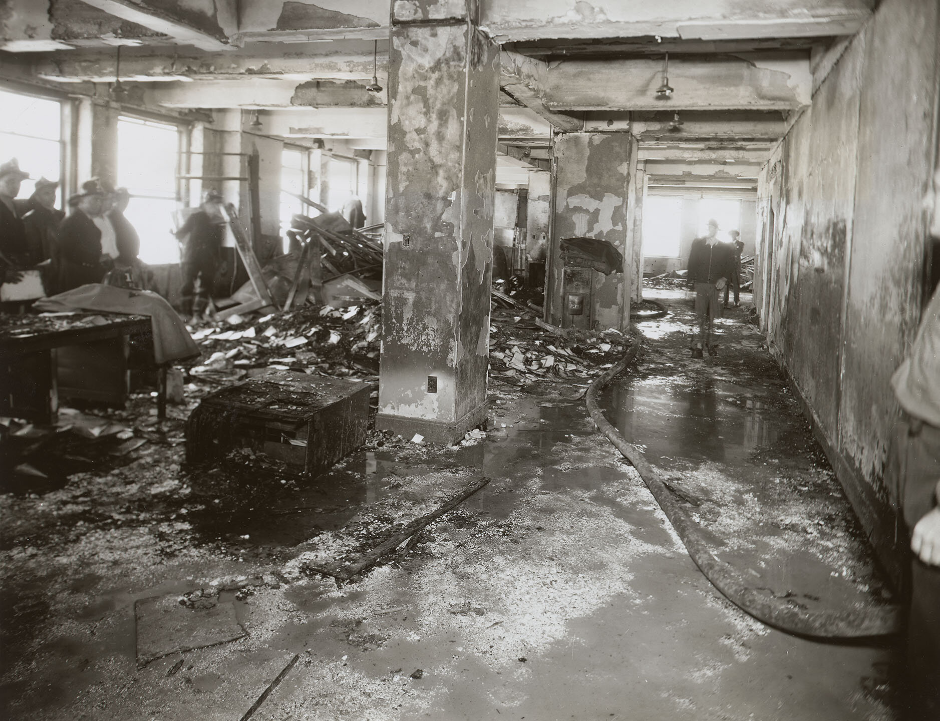 Empire State Building Disaster: Interior, S corner, 79th Fl., facing N; 12:05 pm, July 28, 1945. Mayor LaGuardia Collection, NYC Municipal Archives.