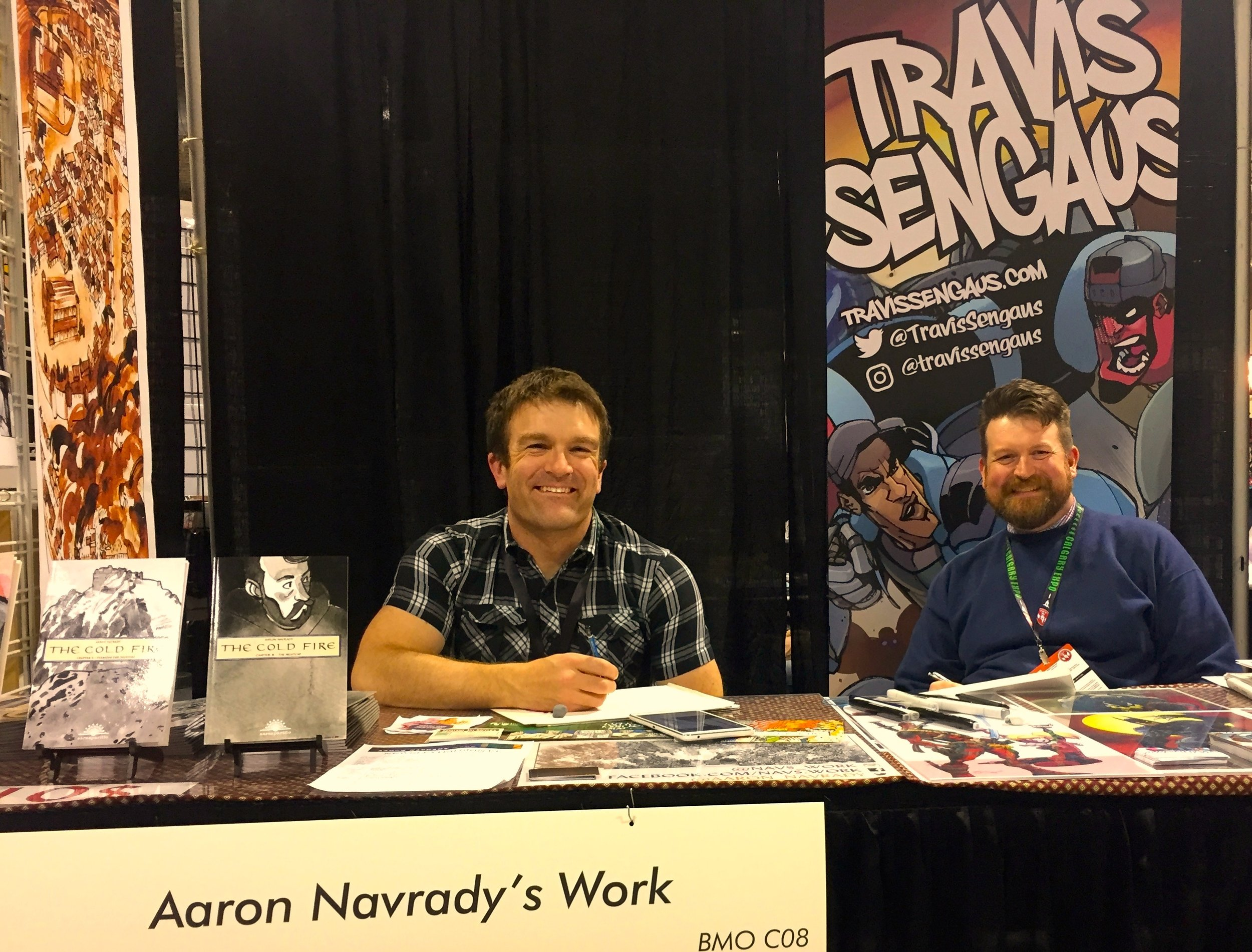 Aaron Navrady & Travis Sengaus - Booth C08  (Photo credit: Chris Doucher/GeekNerdNet.com)