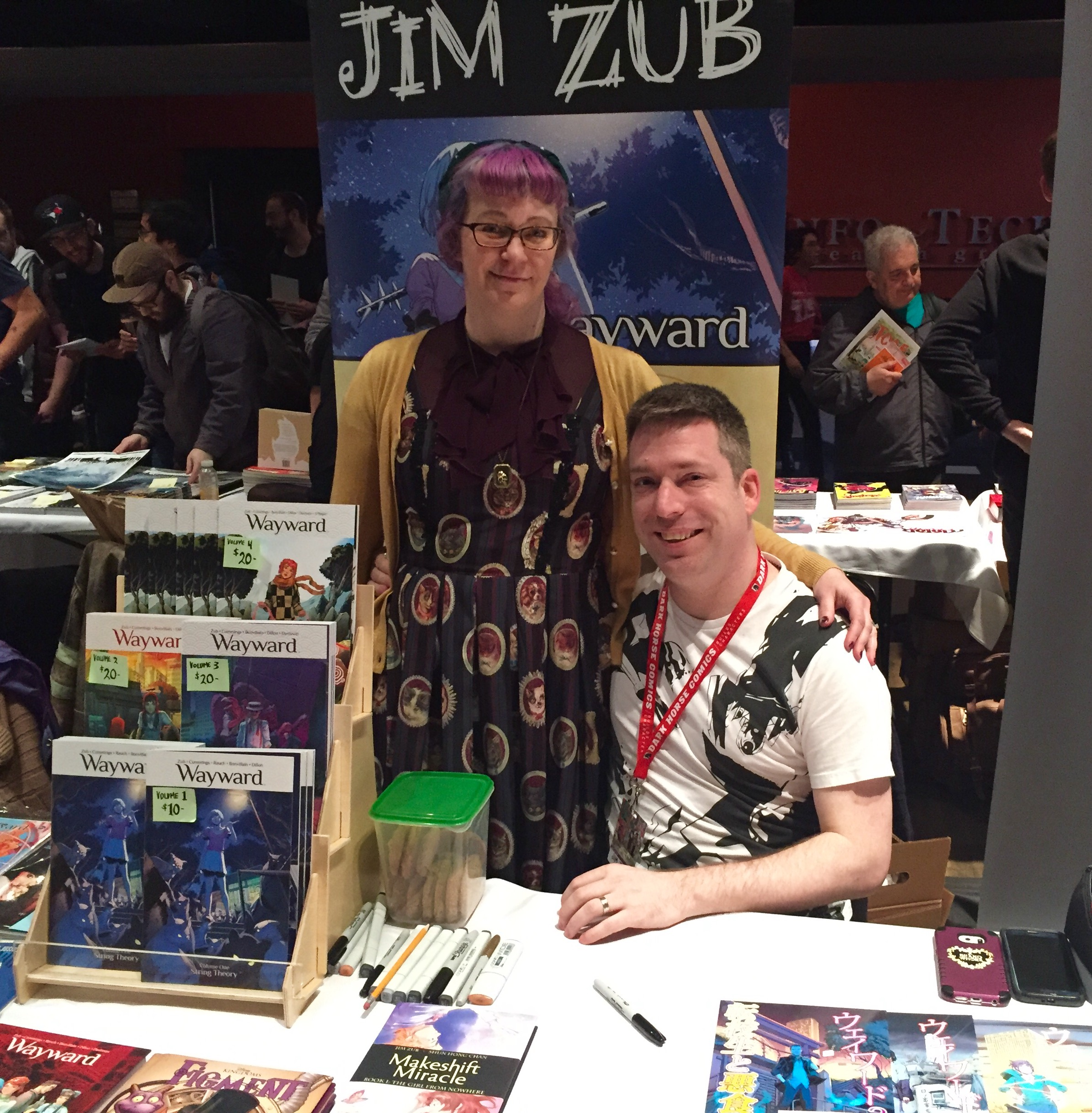 Jim Zub with his wife, Stacy King, at TCAF 2017.  ( Photo credit: Chris Doucher/GeekNerdNet.com )