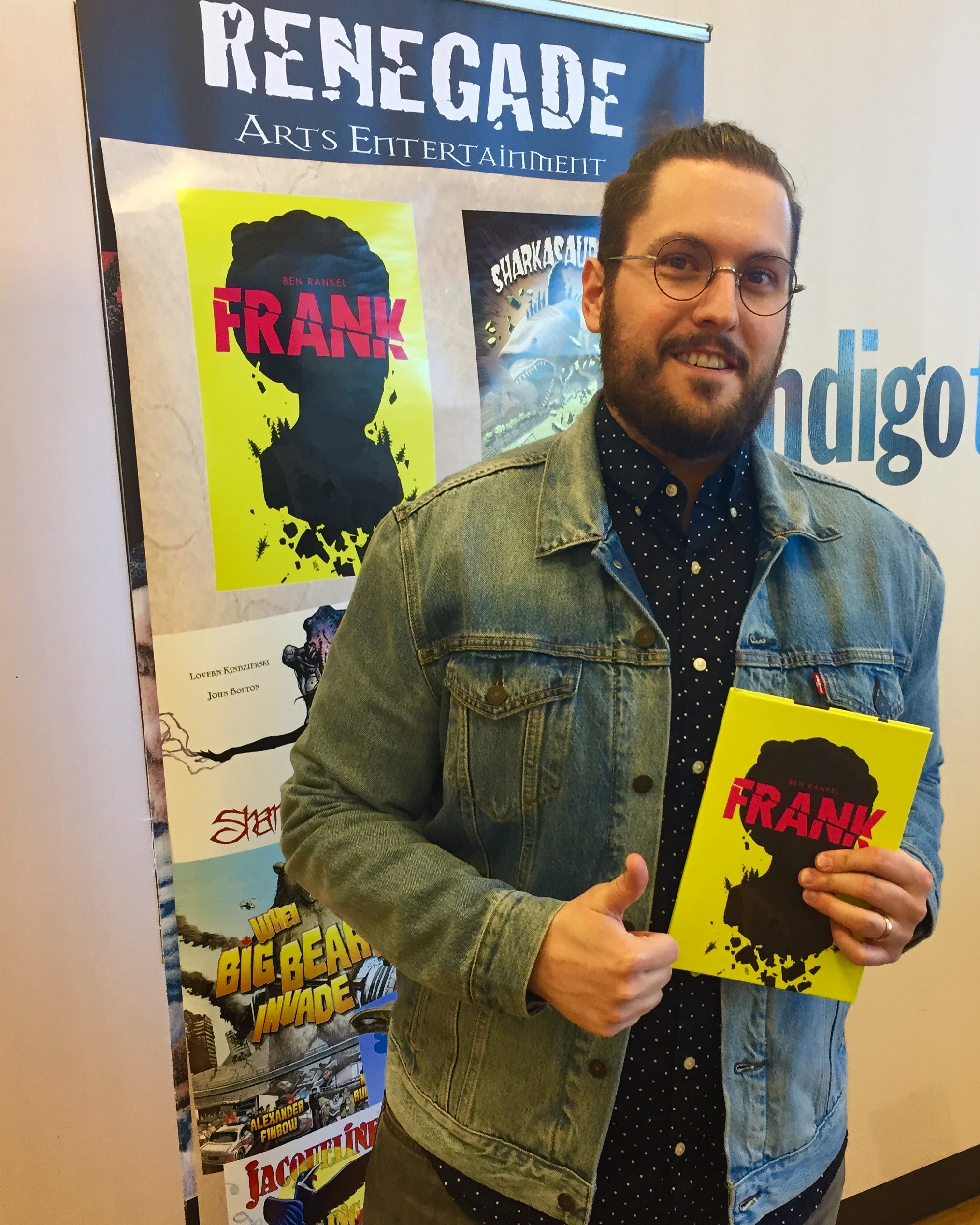 Ben Rankel, creator of FRANK, at Crowfoot Chapters on May 19, 2018.  (Photo credit: Chris Doucher for GeekNerdNet.com)