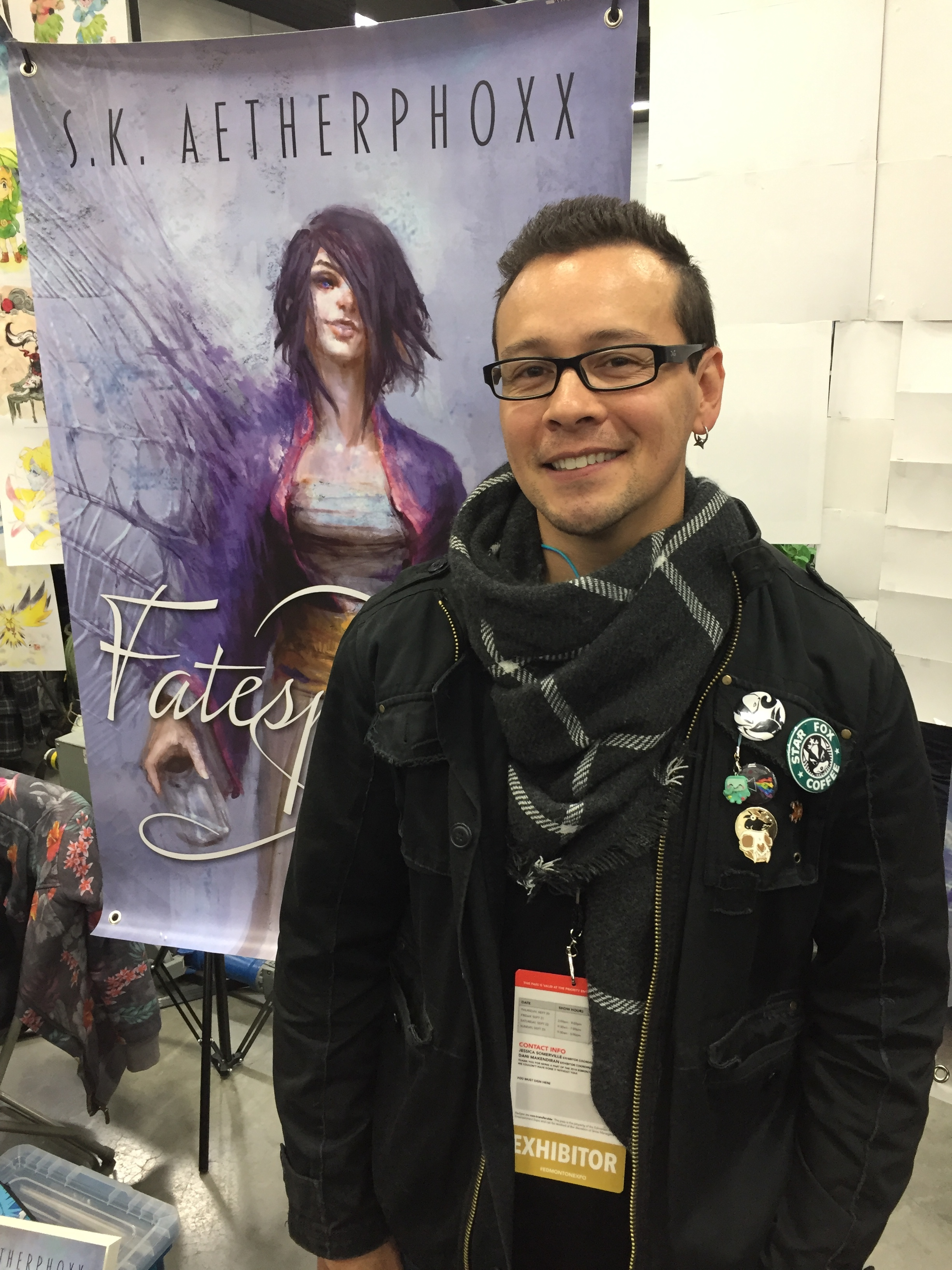 Author S.K. Aetherphoxx at the 2018 Edmonton Expo.   (Photo credit: Charles Cousins)