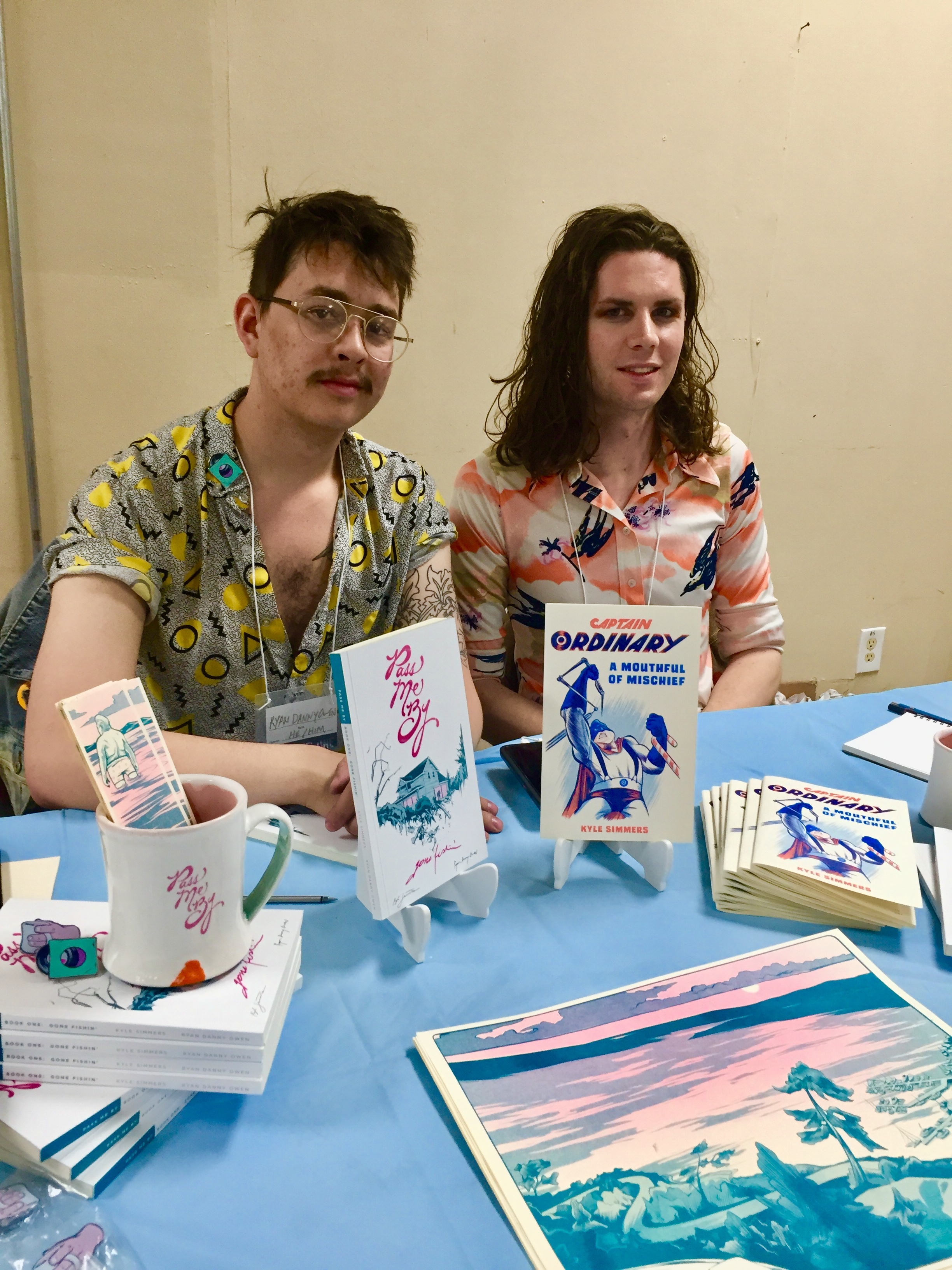 Ryan Danny Owen (left) and Kyle Simmers, creative team on Pass Me By, at the 2019 Panel One Comic Creator Festival  ( Photo credit: Chris Doucher/GeekNerdNet )