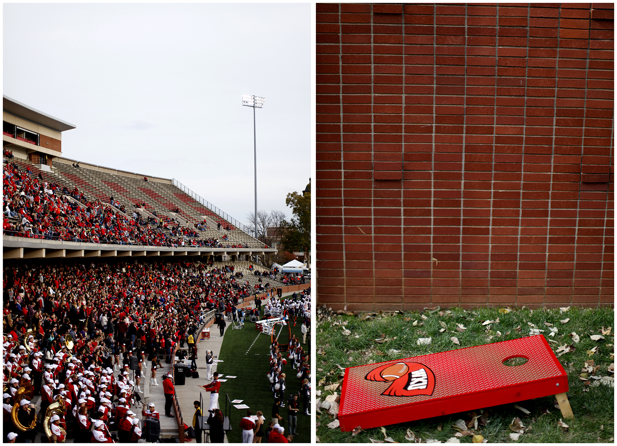 Left: A sparse crowd cheers on the Tops at L.T. Smith Stadium at the 2014 Homecoming game on Saturday, Nov. 8, 2014. Right: A corn-hole board sits during Homecoming tailgating in the Valley at WKU on Saturday, Nov. 8, 2014.
