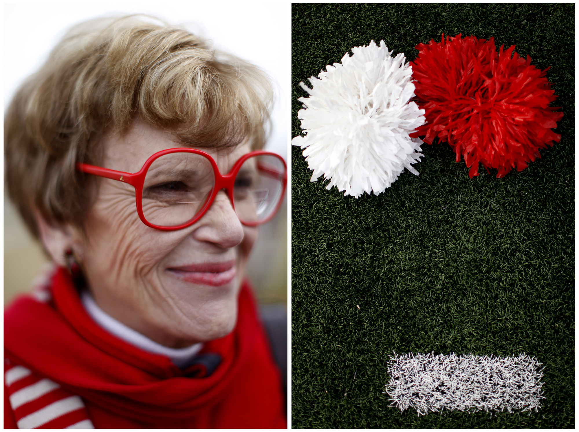 """Left: Cecile Garmon, a communications professor at WKU, poses for a portrait in her red Liz Claiborne glasses. Garmon has been a professor since the 1980's and has sported her collection of colored glasses since the 80's as well. She has colors from orange to green and says she wishes she would have bought every color when Liz Claiborne came out with the glasses in the 80's. """"I love Homecoming, but it isn't as much fun as coming to class everyday,"""" Garmon said. Right: WKU cheerleader's pom-poms rest on the sidelines of L.T. Smith's Stadium during the Homecoming game on Saturday, Nov. 8, 2014."""