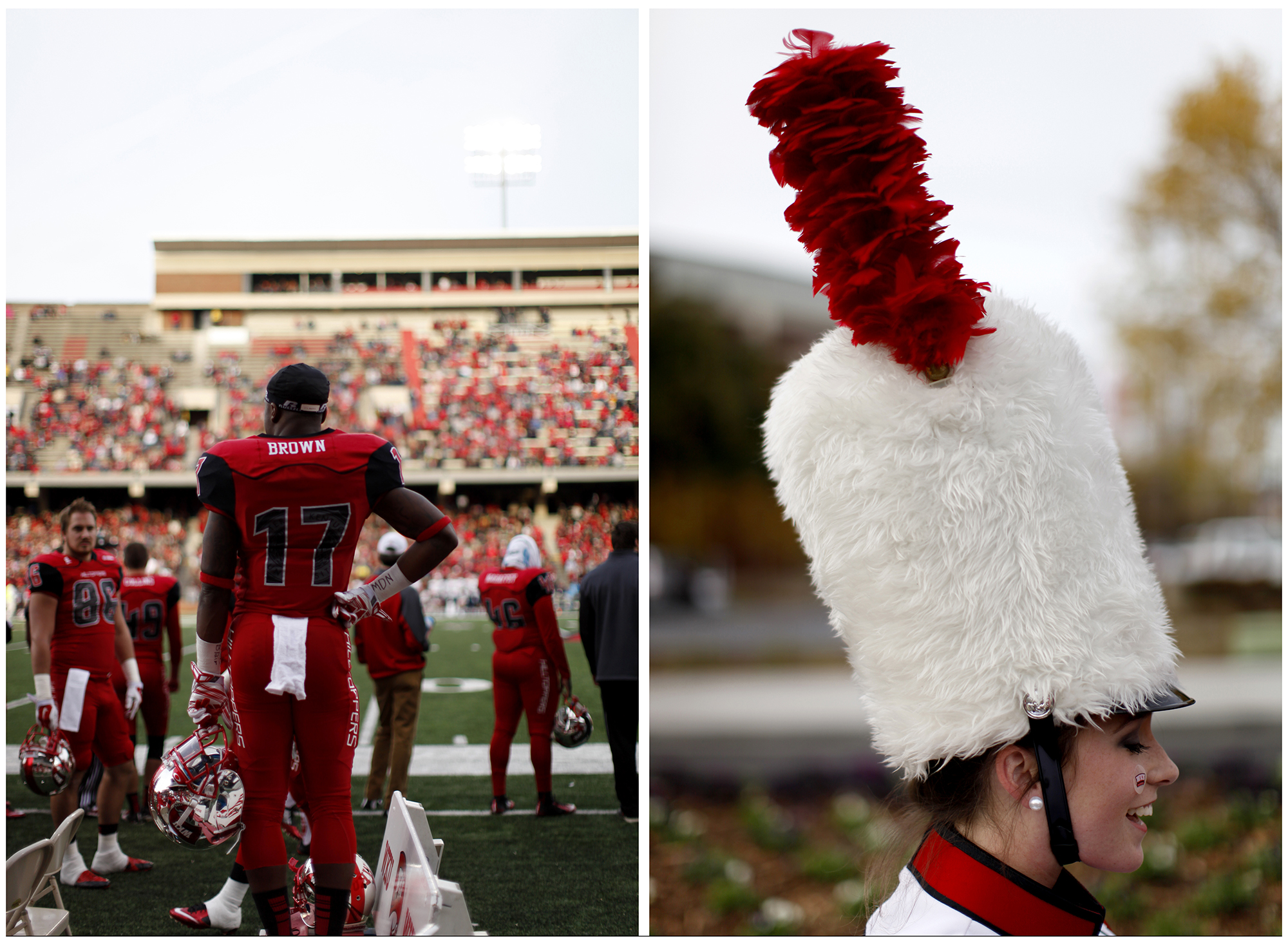 Left: Dejon Brown, a junior and linebacker, watches his team play it's game against UTEP on Saturday, Nov. 8, 2014. WKU won 35-27, their first Homecoming victory in three years. Right: Angela Cook, a senior and drum major, poses for a portrait while the WKU band gathers together in the Avenue of Champions at WKU on Saturday, Nov. 8, 2014.