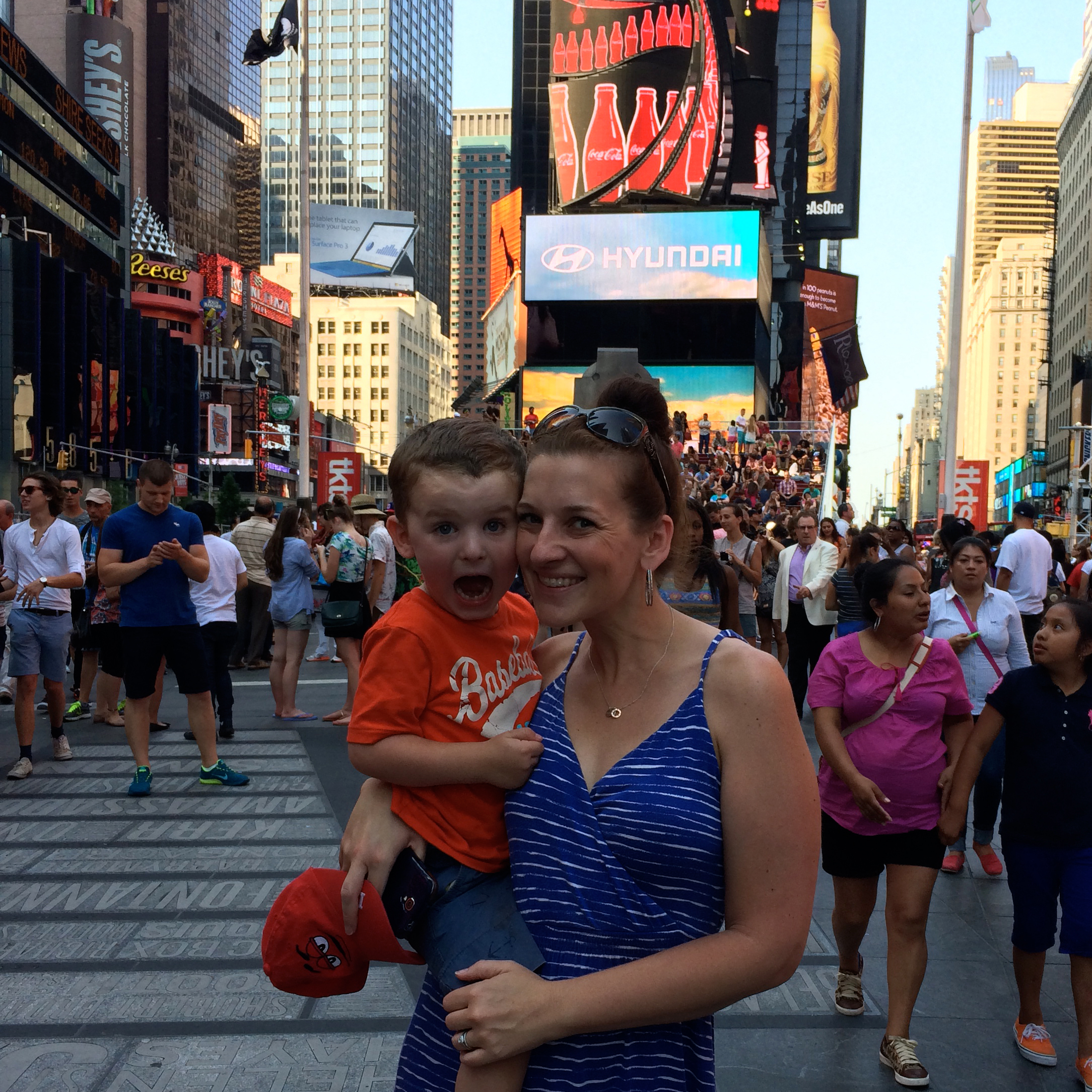 Christine and her mini in Times Square, New York City