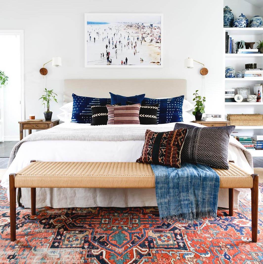 Bohemian bedroom by Katie Hodge Design.