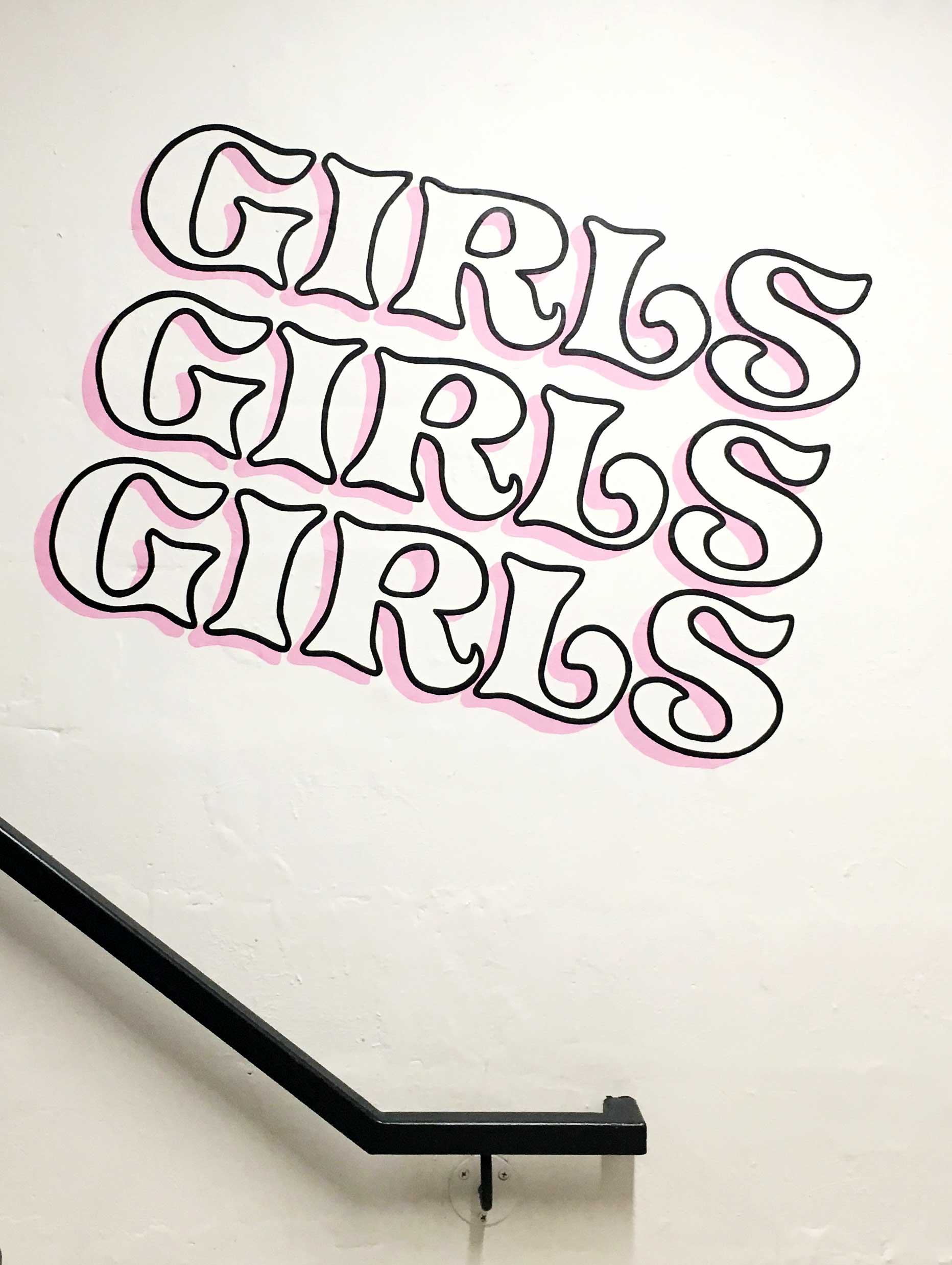 Girls, girls, girls | Tribute wall art in the stairwell of the Broadview Hotel, Toronto.