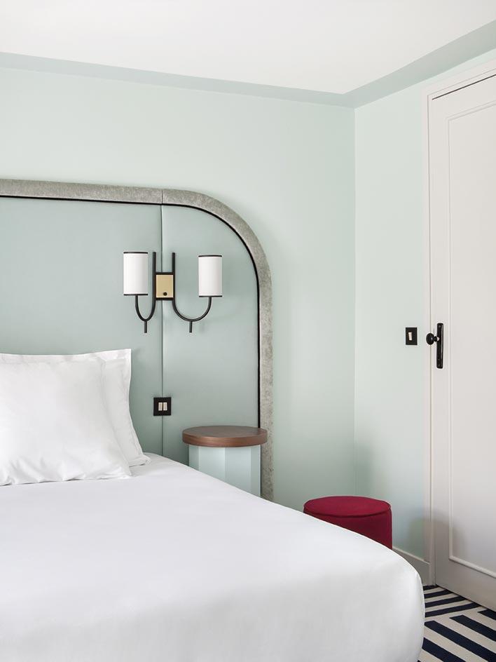 Mint details at Hotel Bienvenue in Paris via Wallpaper.