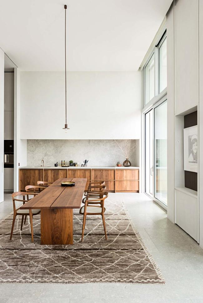 Wabi Sabi elements in a minimalist kitchen.