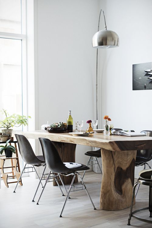 Scandinavian meets Wabi Sabi in this dining room.
