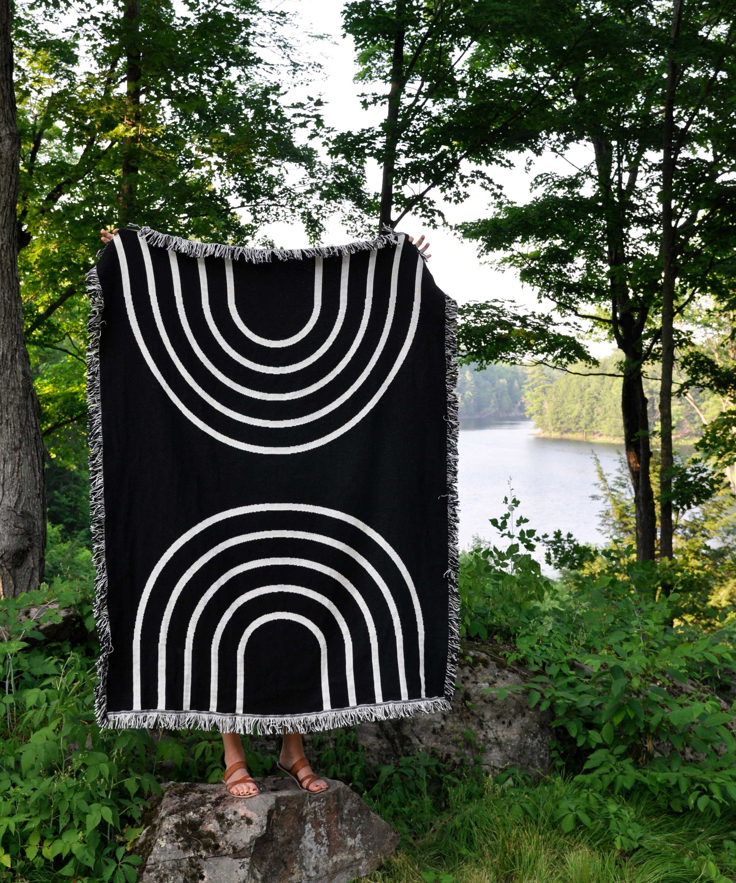 Rainbow cotton throw blanket    by Swell Made Co. Keep one close for summer adventures.