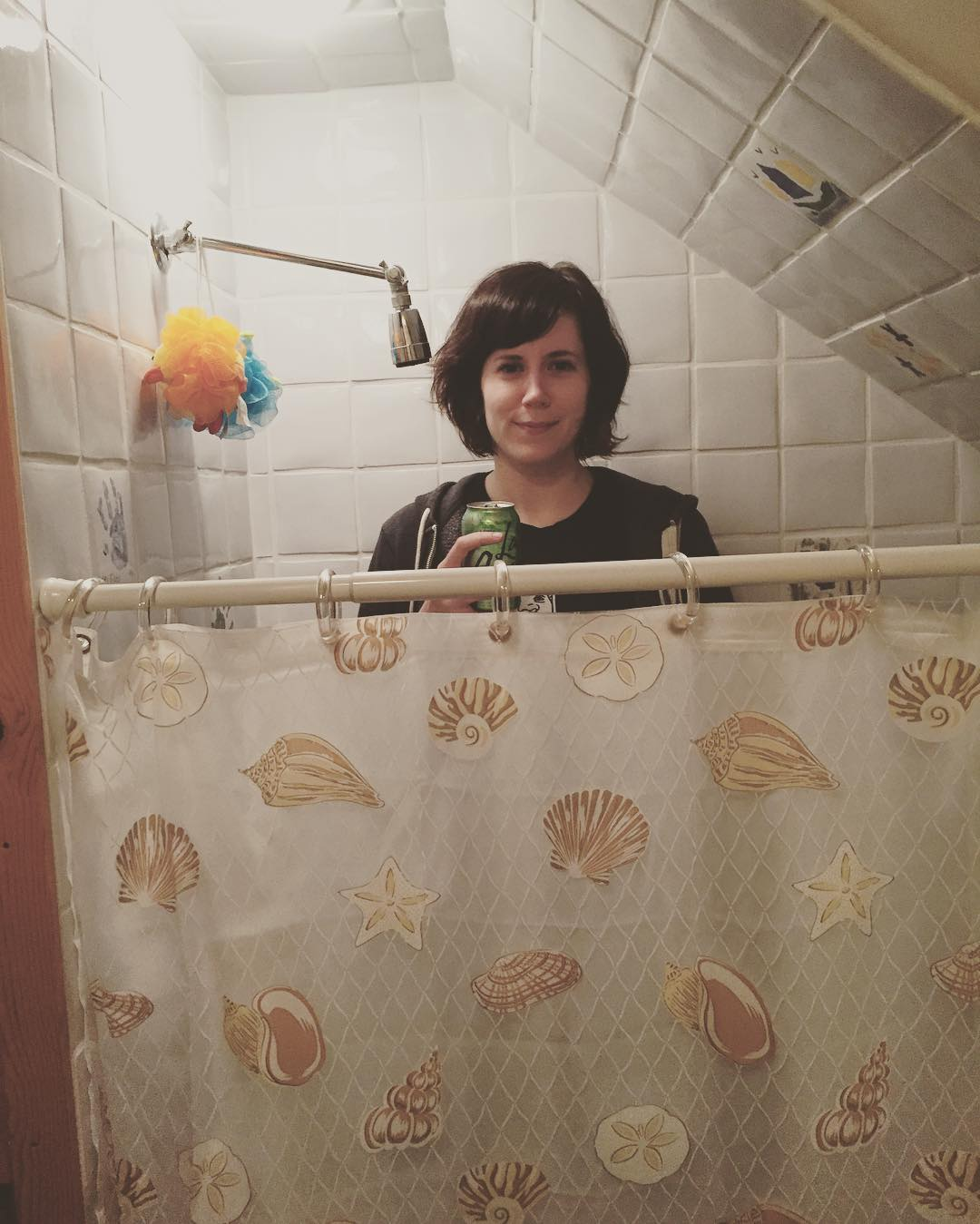 seen here demonstrating that this shower is nonsense - promotional considerations by la croix lime - jk no it's not