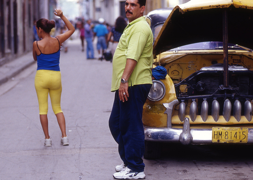 Woman in Yellow Pants and Taxi Driver