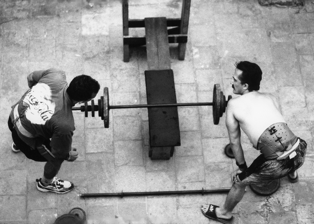 Weight Lifters on Terrace