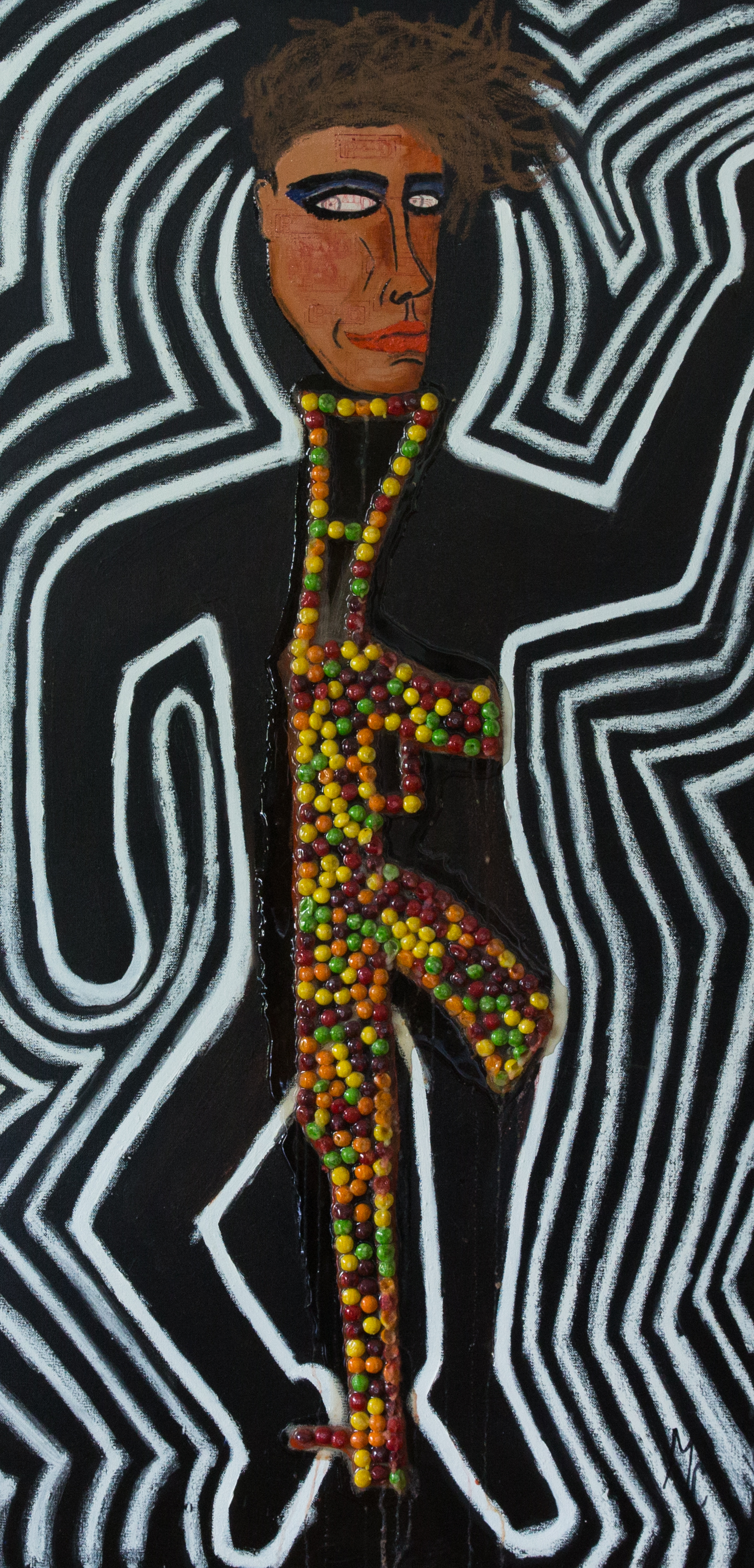 FUCK THE NRA, OIL, SKITTLES ON CANVAS, 24x84.jpg