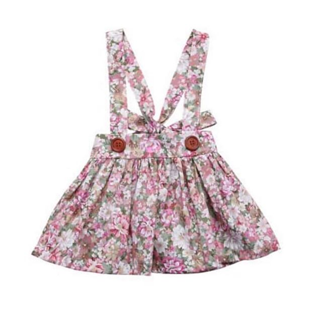 NEW FOR SPRING! 🌷Adjustable floral overall skirts! 🌿 Available in sizes 6M-4T in color's Rosily, Peony and Posie, $15! 🌸 Use code: SPRINGBREAK for free shipping!