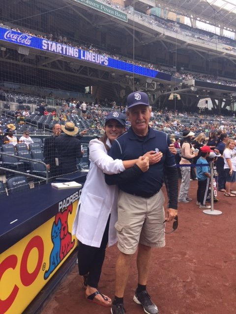 Dr. Mona Mofid with the Padres on SunSafety Day